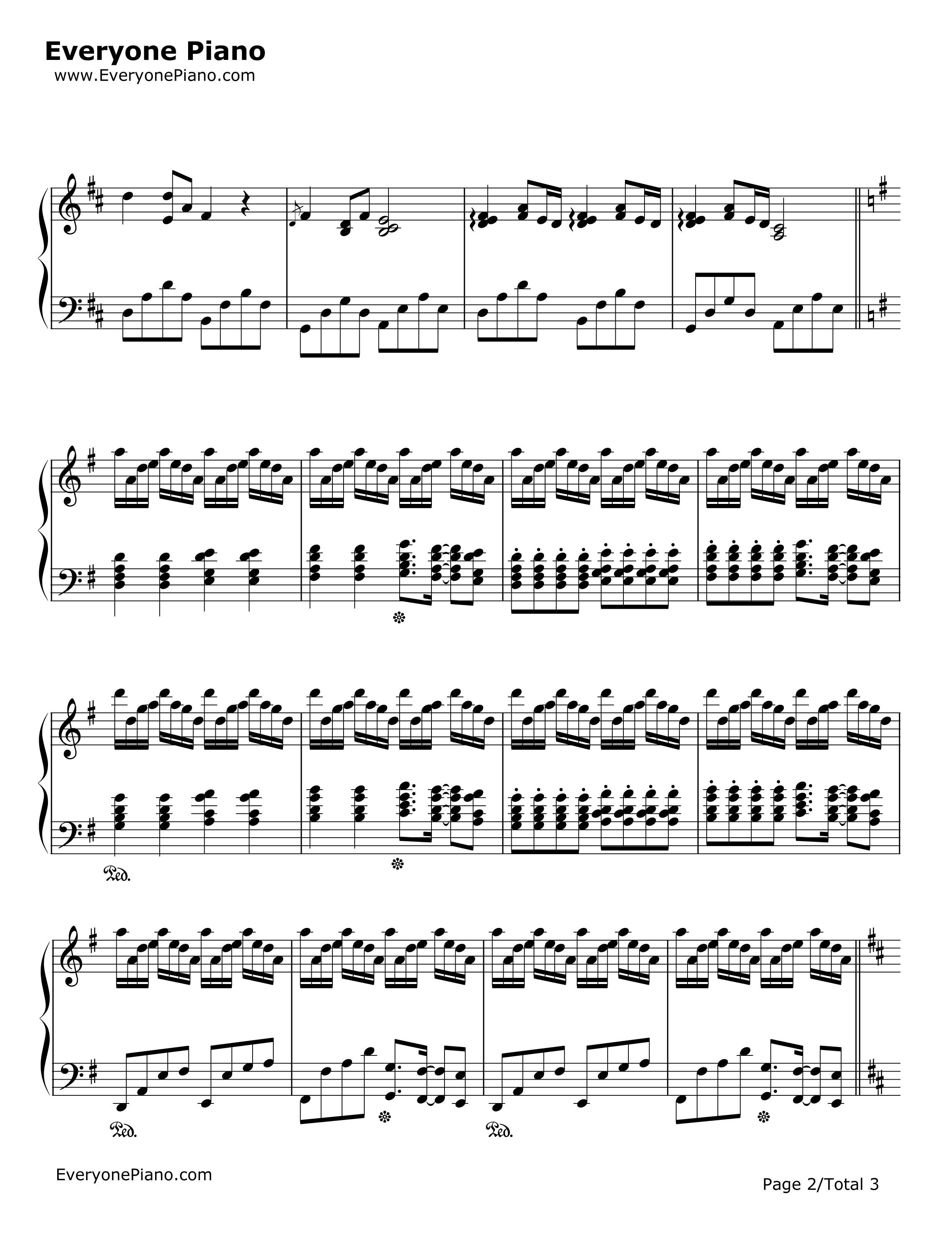 钢琴曲谱 经典 菊次郎的夏天-summer 菊次郎的夏天-summer五线谱预览2