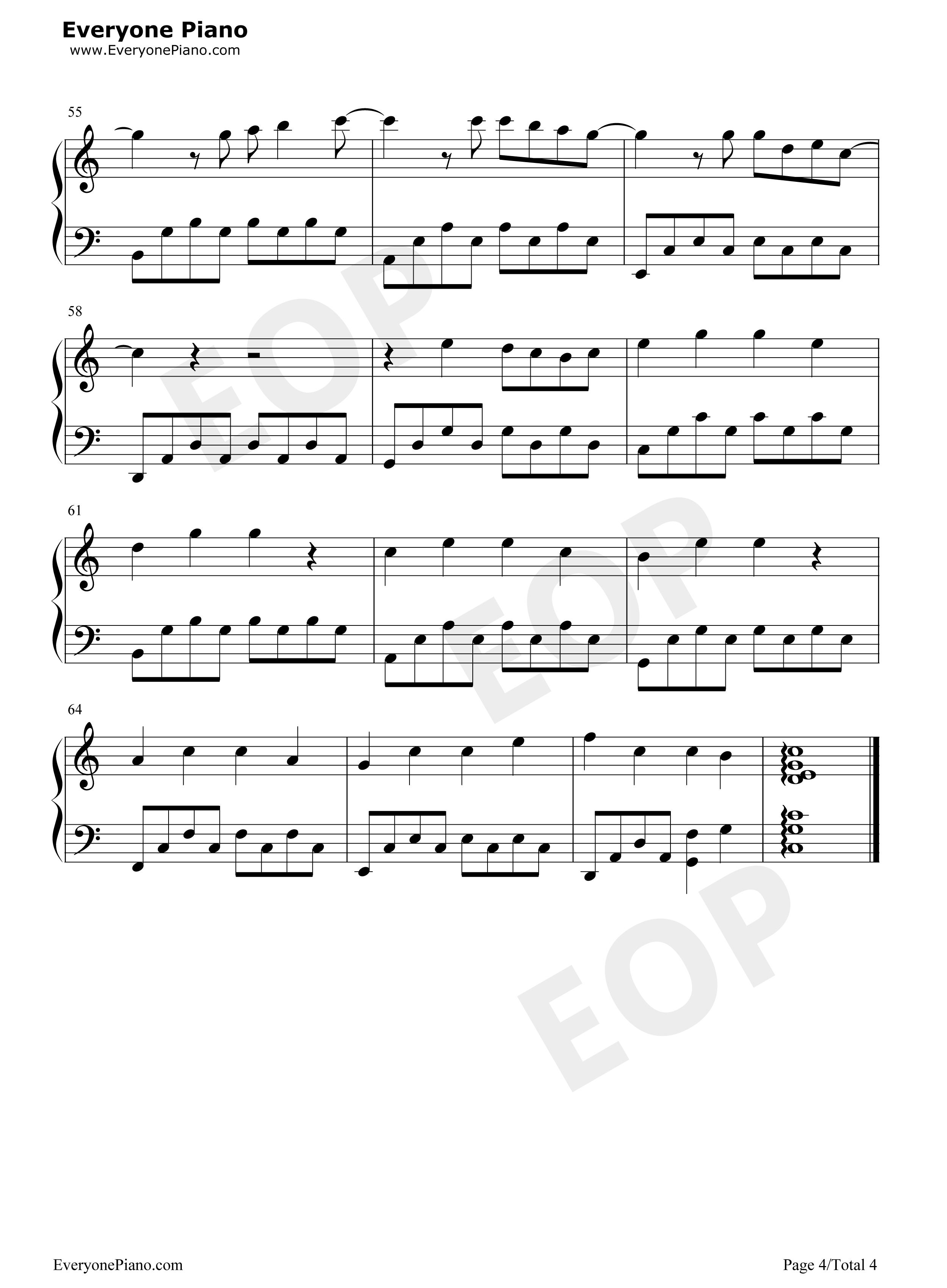 明天你好五线谱预览4-钢琴谱