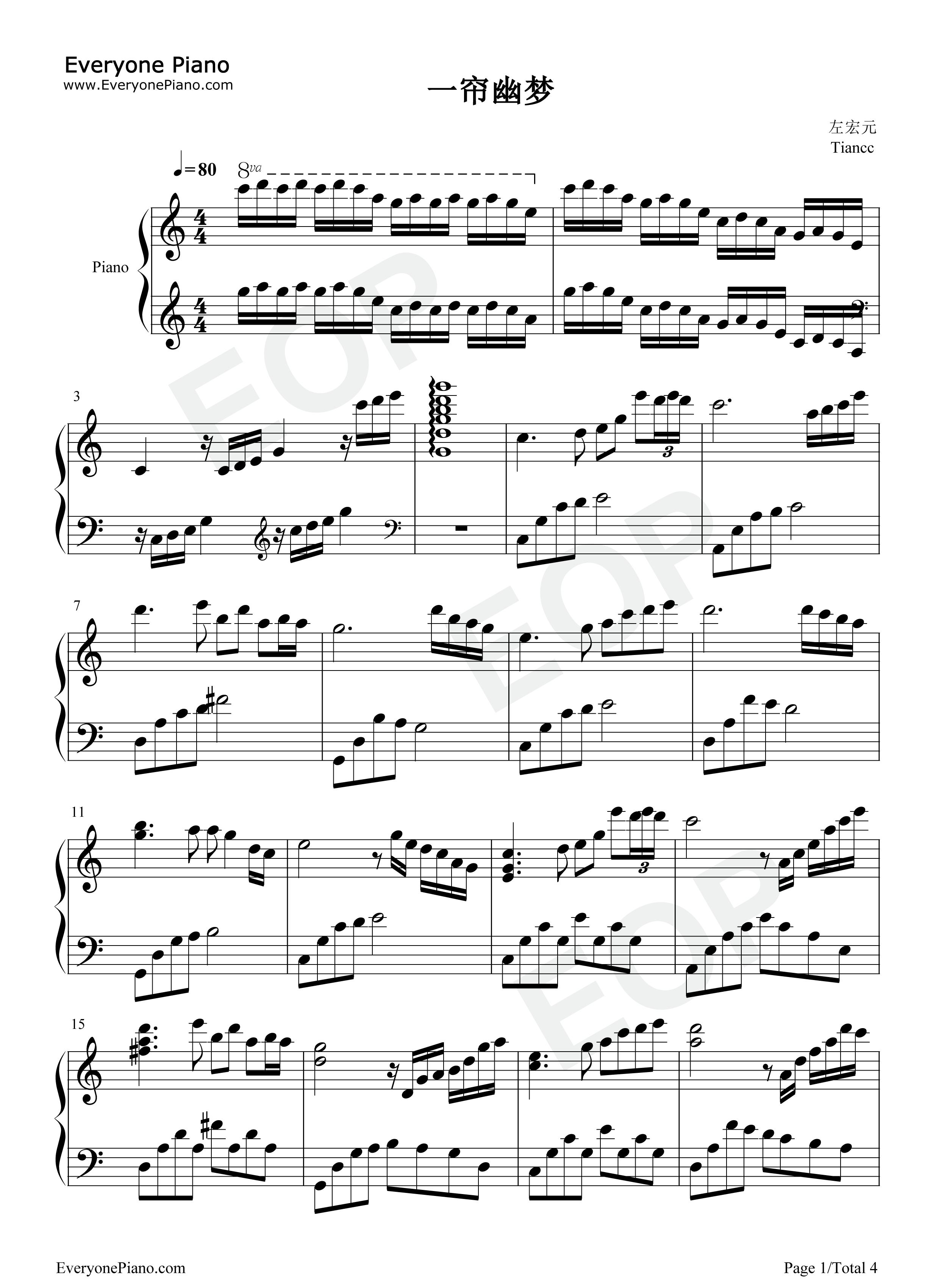 一帘幽梦五线谱预览1-钢琴谱(五线谱,双手简谱)免费