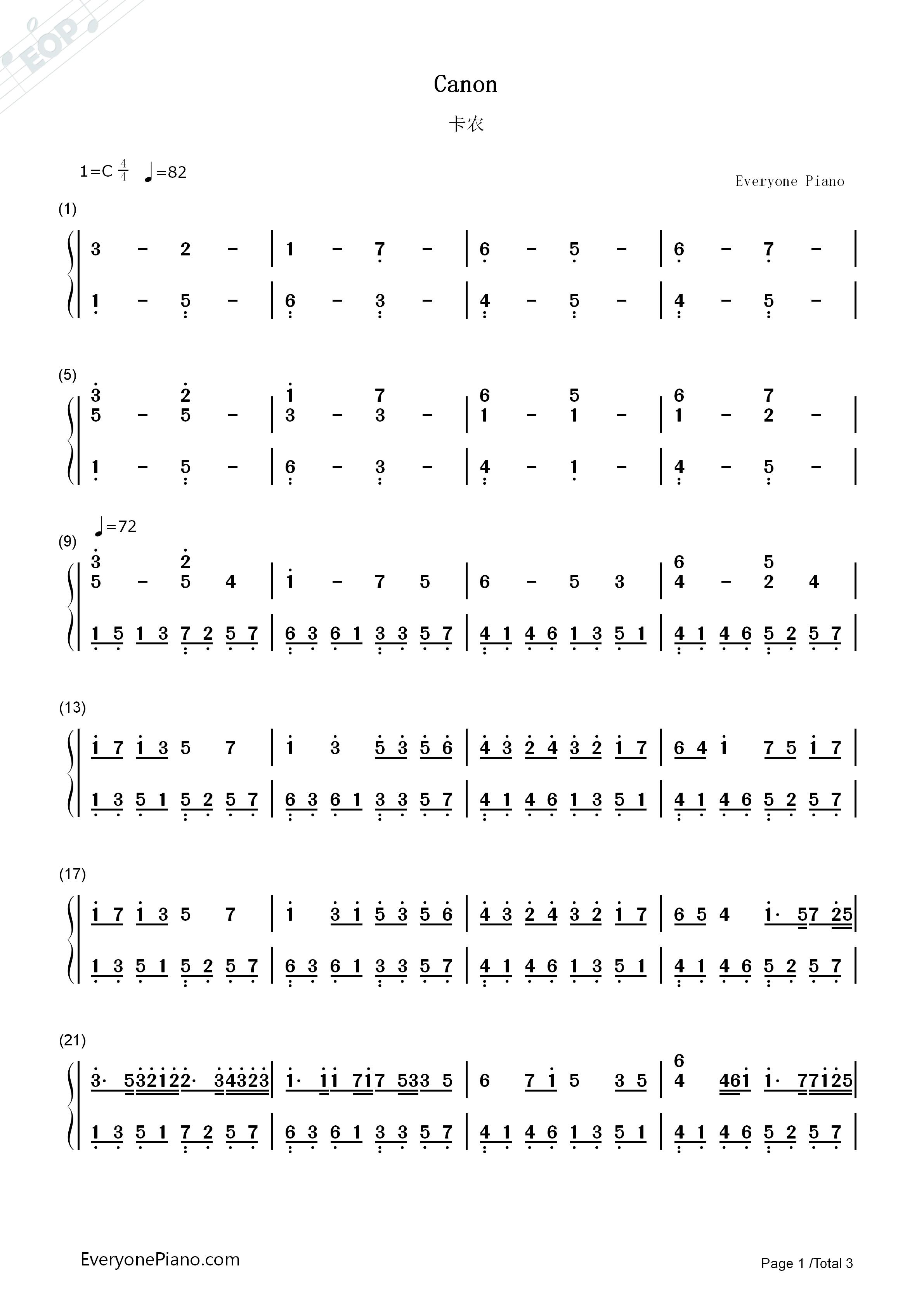 卡农-canon双手简谱预览1-钢琴谱文件(五线谱,双手,谱