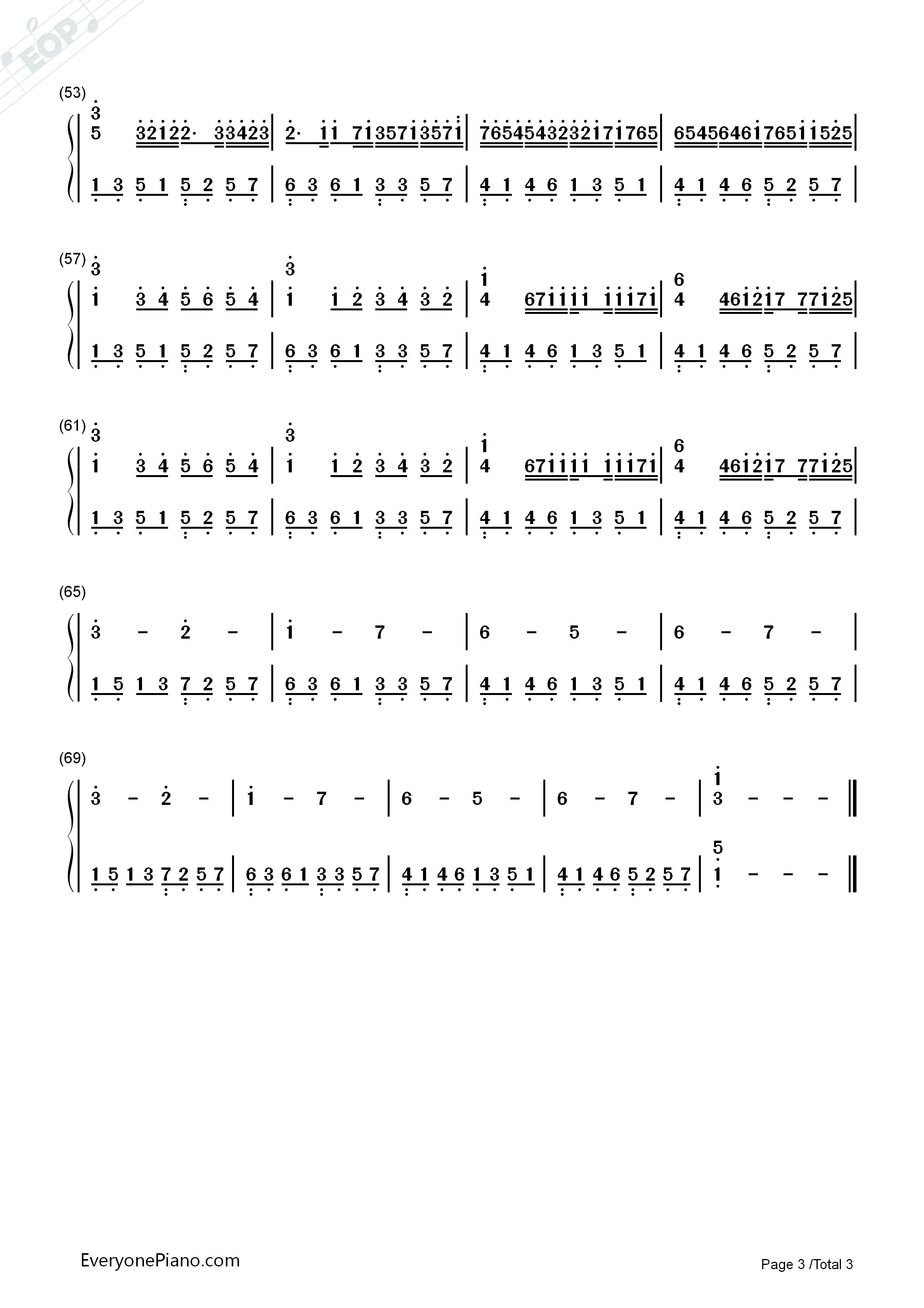 钢琴曲谱 经典 卡农-canon 卡农-canon双手简谱预览3