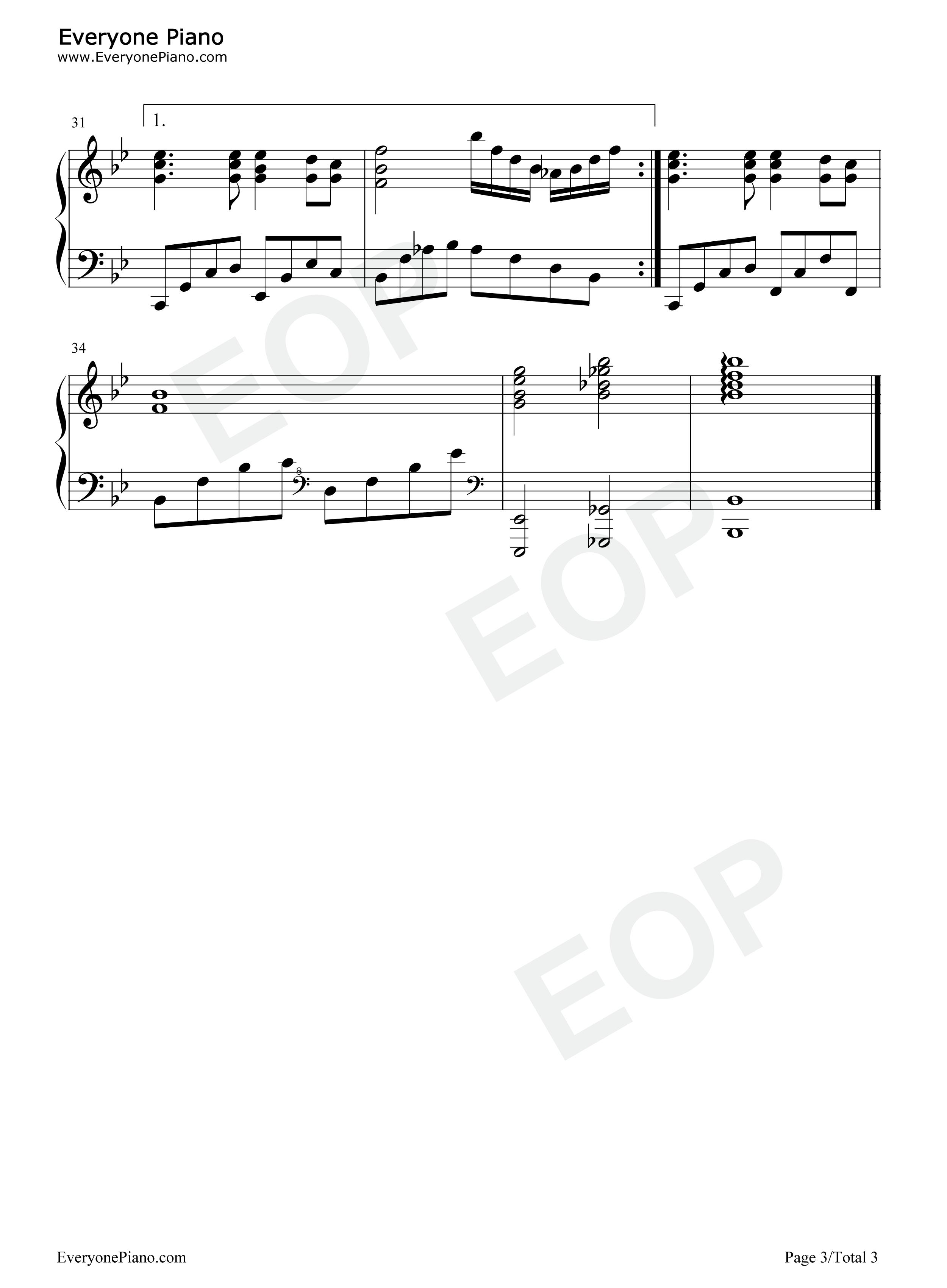 同一首歌五线谱预览3-钢琴谱(五线谱,双手简谱)免费