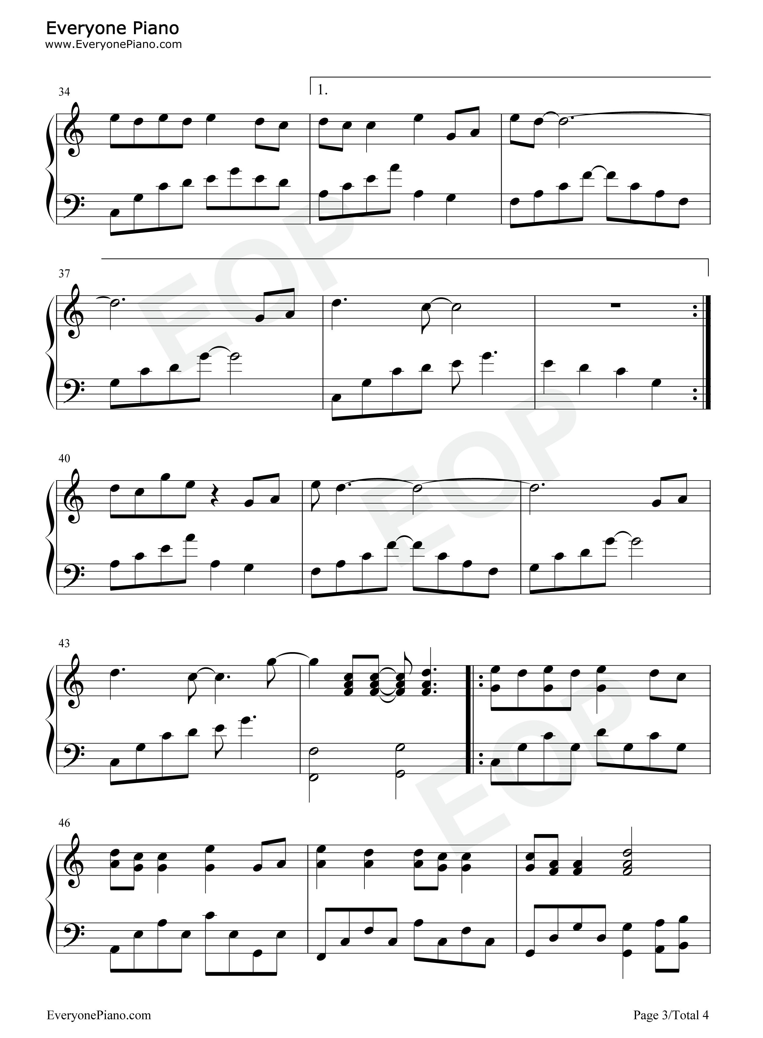 钢琴曲谱 流行 猪之歌 猪之歌五线谱预览3  亲,在你免费下载谱子之后