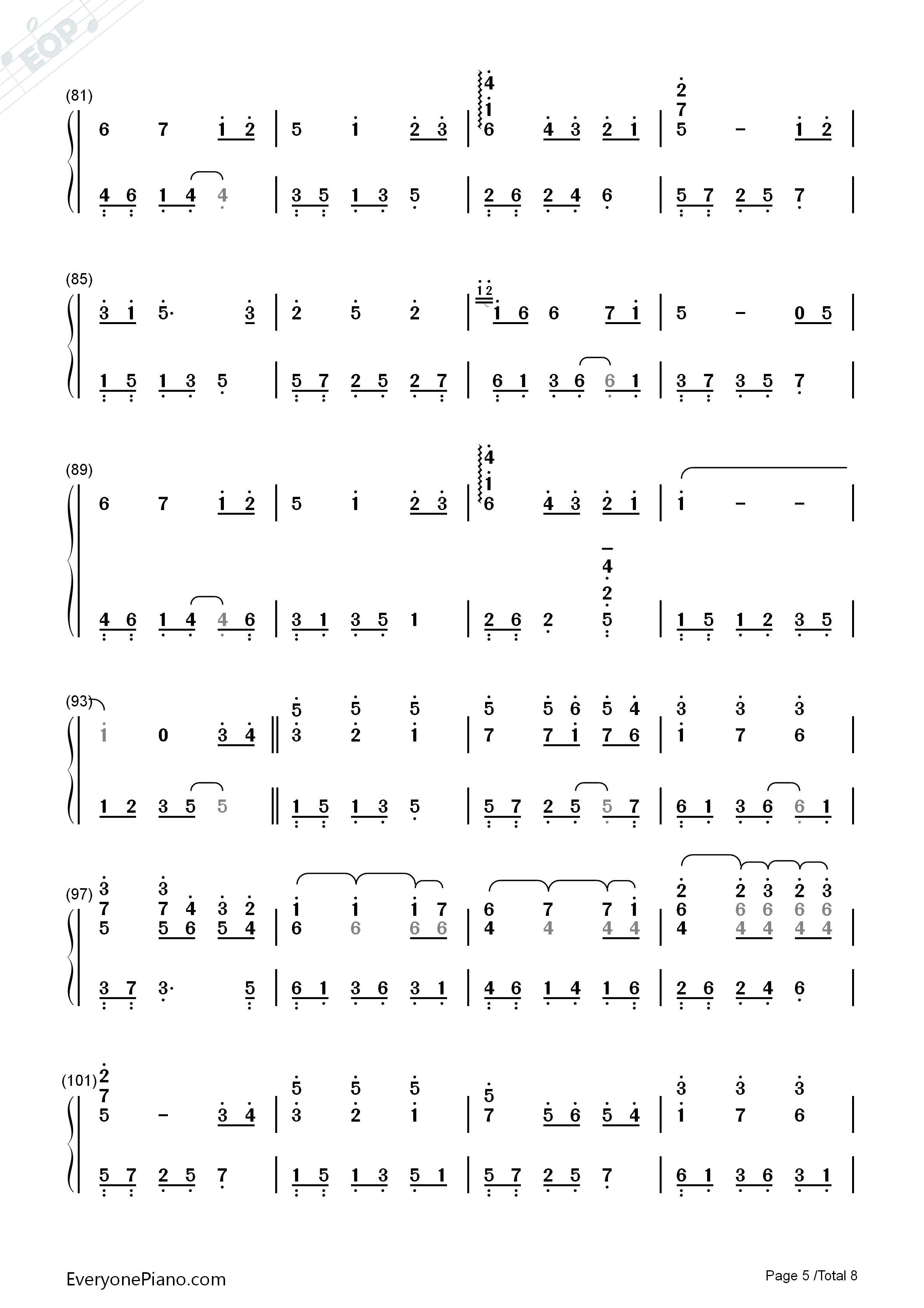 Always with Me 千与千寻片尾曲双手简谱预览5 钢琴谱文件 五线谱 双手