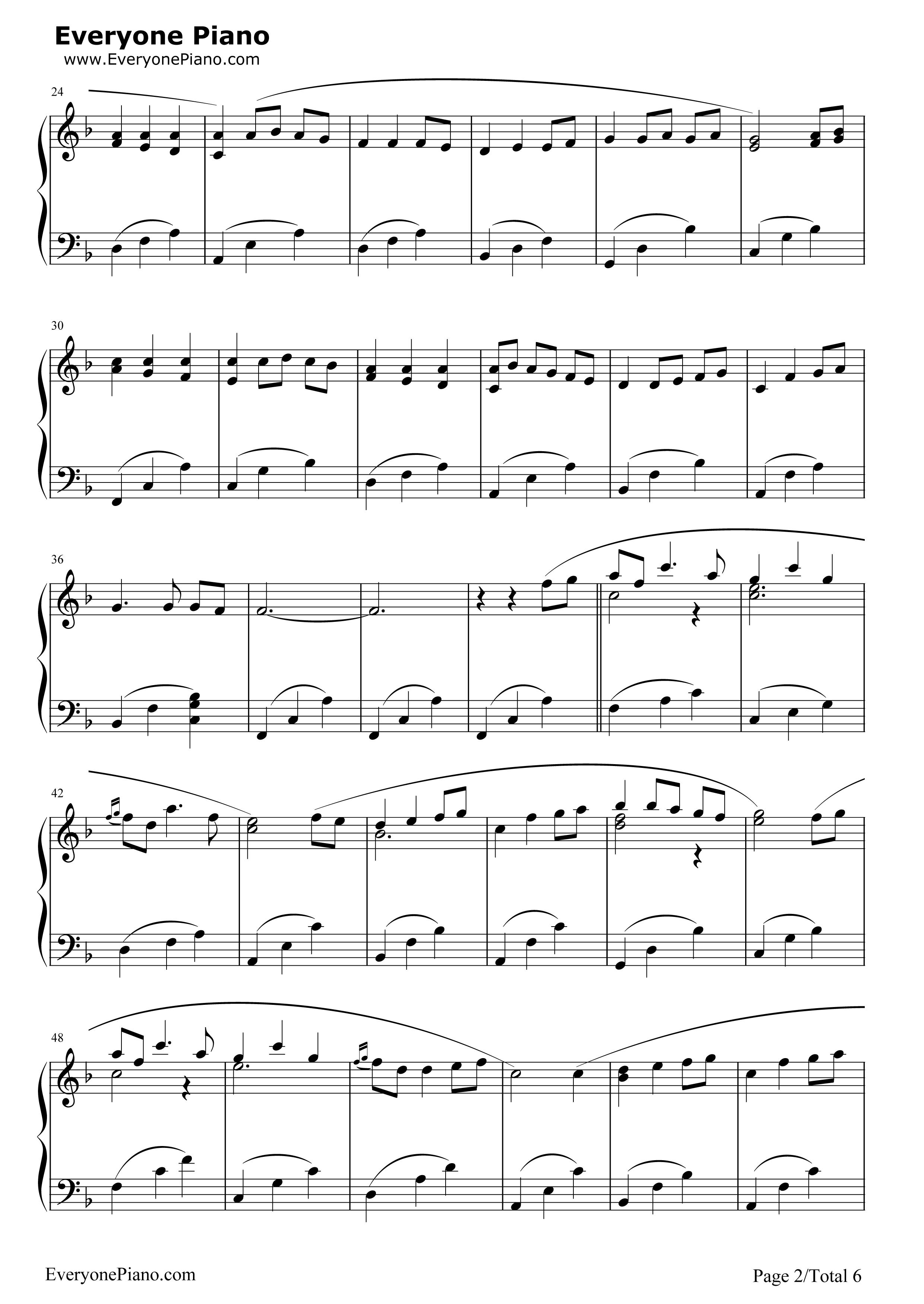 坦诉钢琴曲谱子-五线谱预览2 钢琴谱文件 五线谱 双手简谱 数字谱 Midi PDF 免费下载