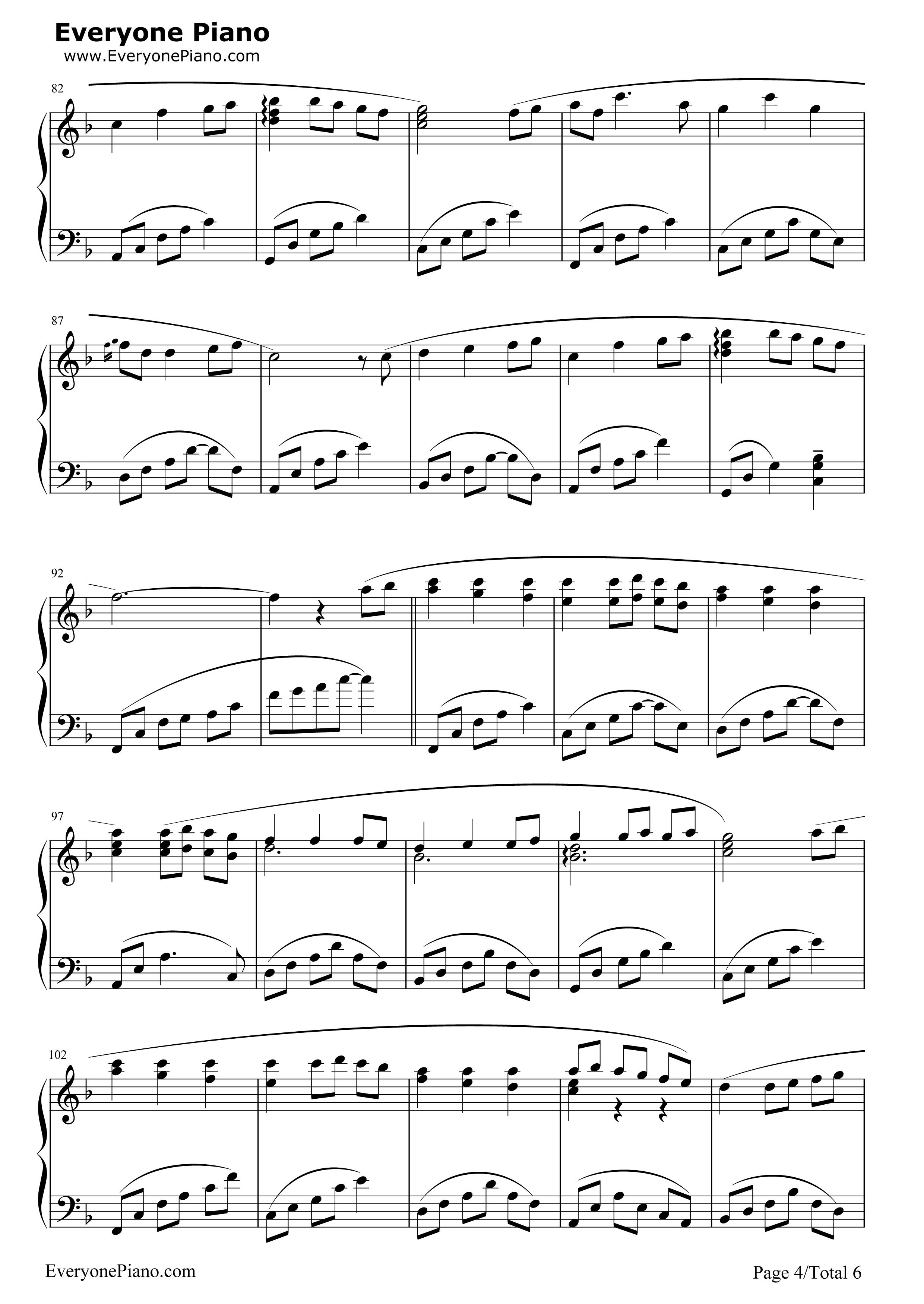 Always with Me 千与千寻片尾曲五线谱预览4 钢琴谱文件 五线谱 双手简