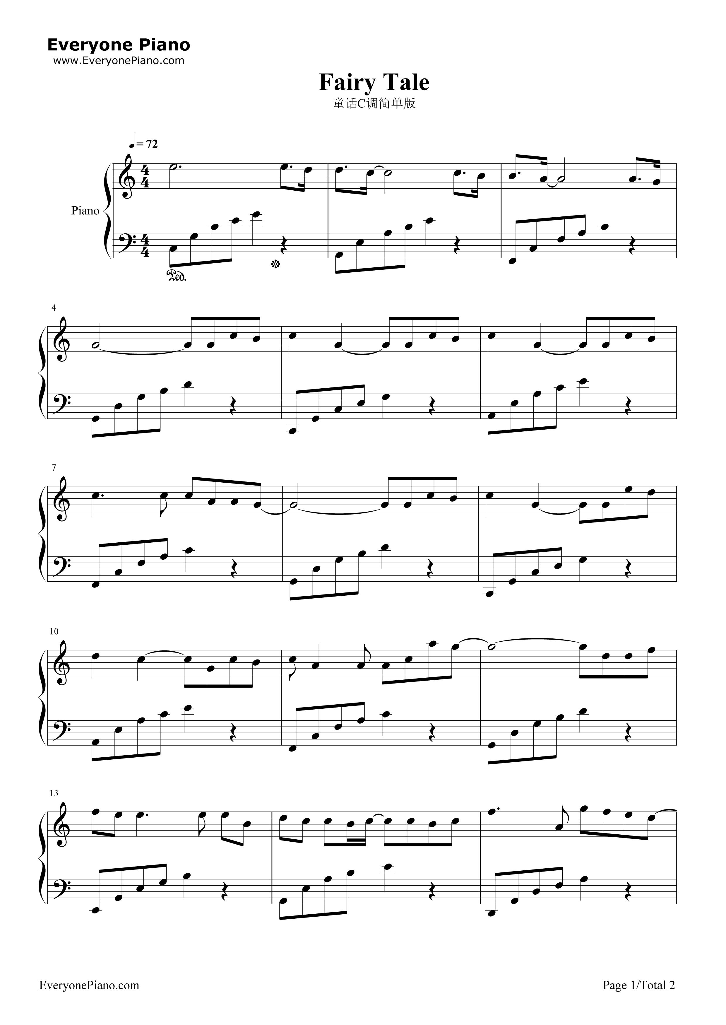 童话五线谱预览1-钢琴谱(五线谱,双手简谱)免费下载