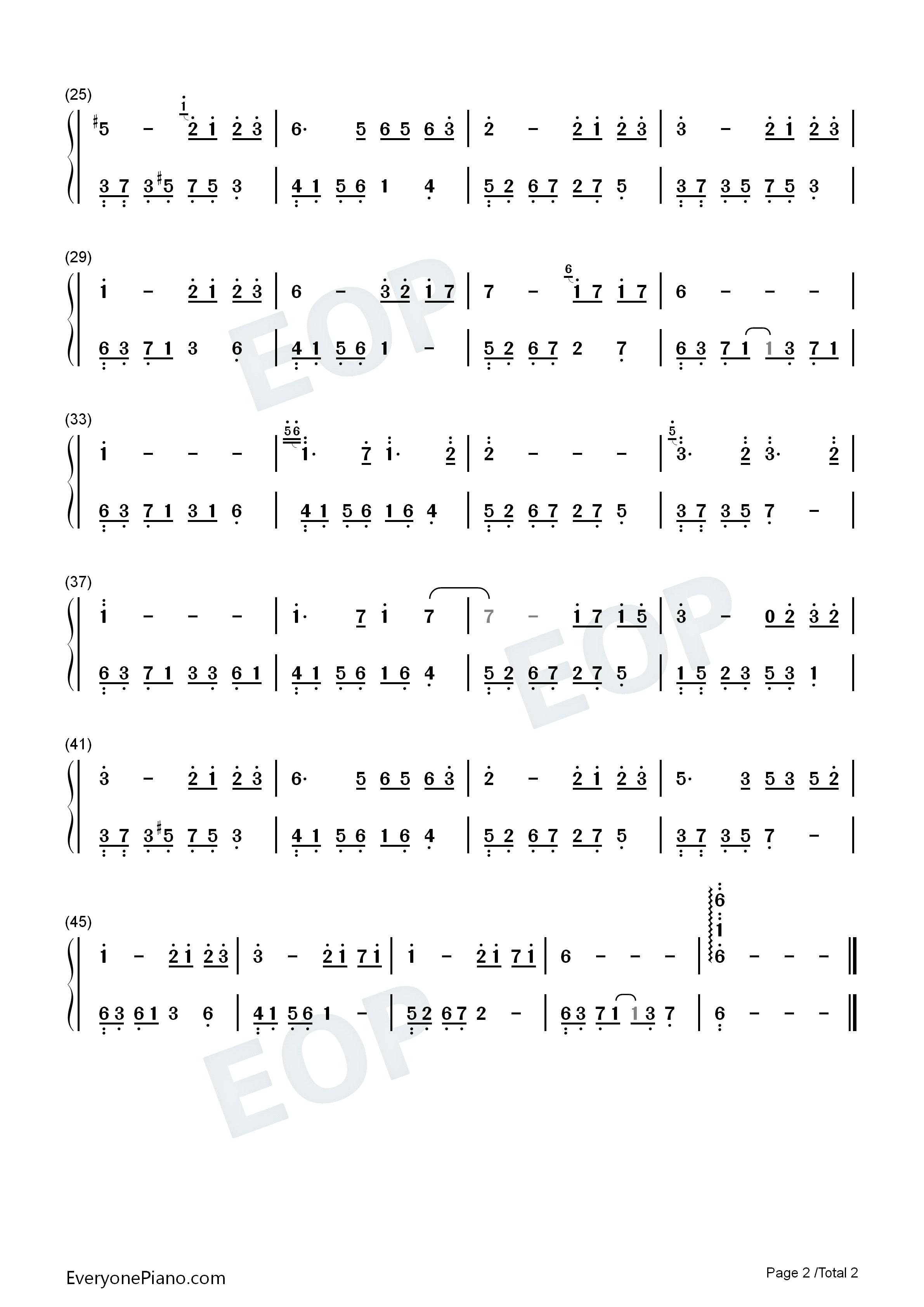 夜的钢琴曲四双手简谱预览2