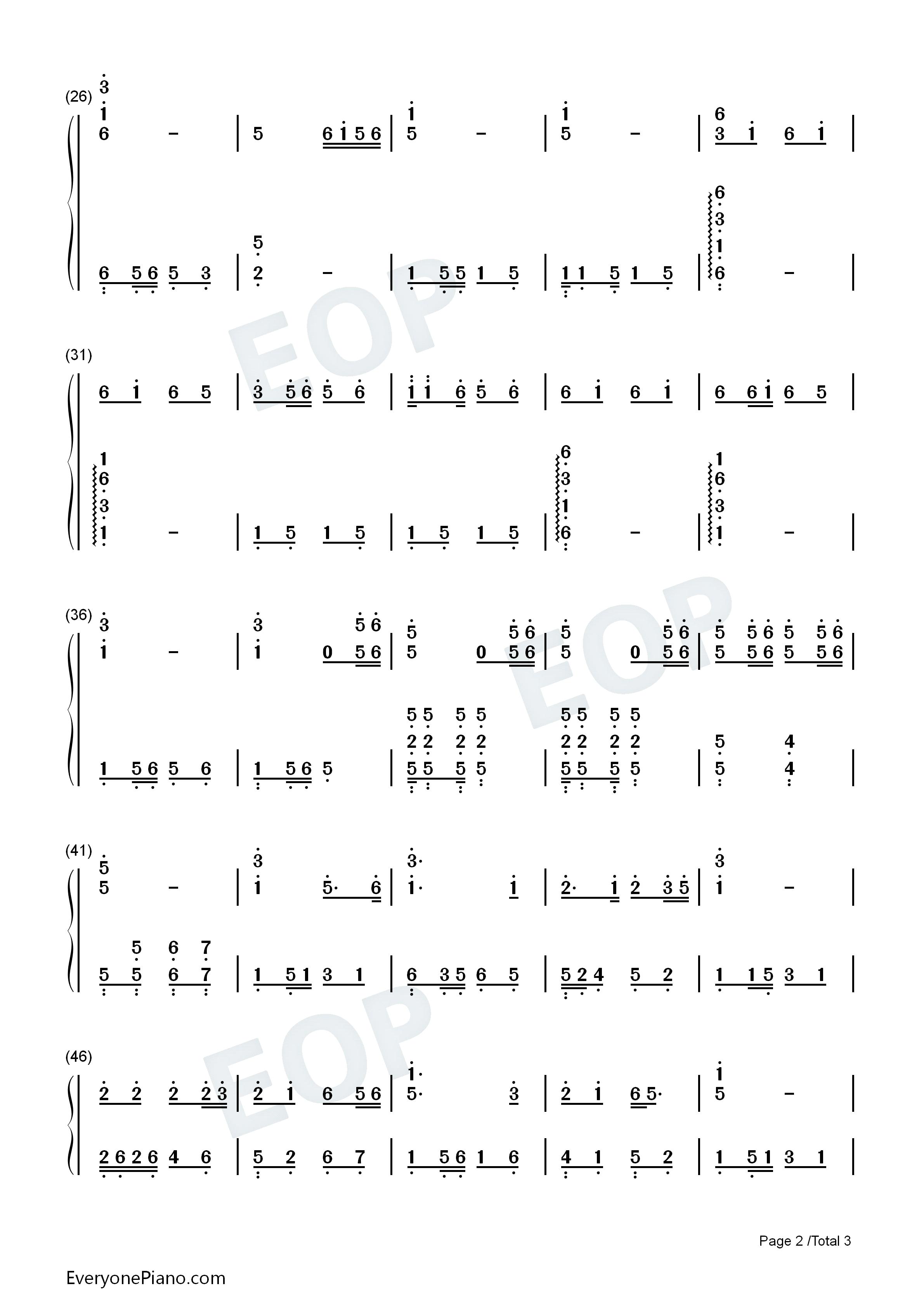 甜蜜蜜双手简谱预览2-钢琴谱文件(五线谱,双手简谱,谱图片