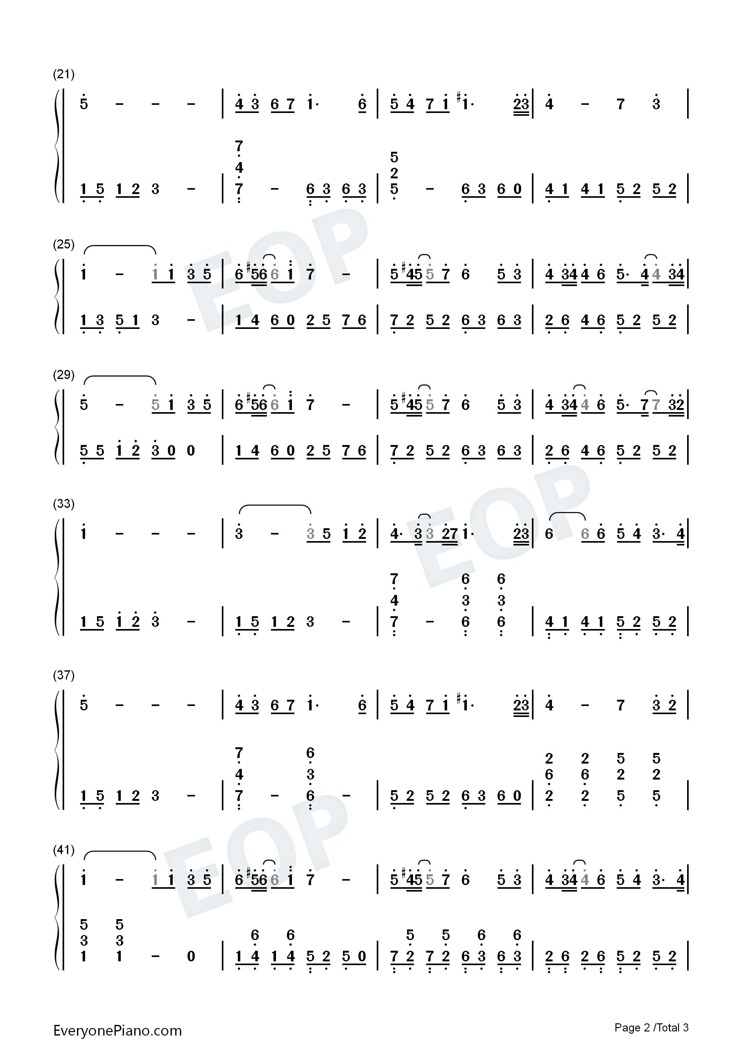 一个人的浪漫双手简谱预览2-钢琴谱(五线谱,双手简谱)