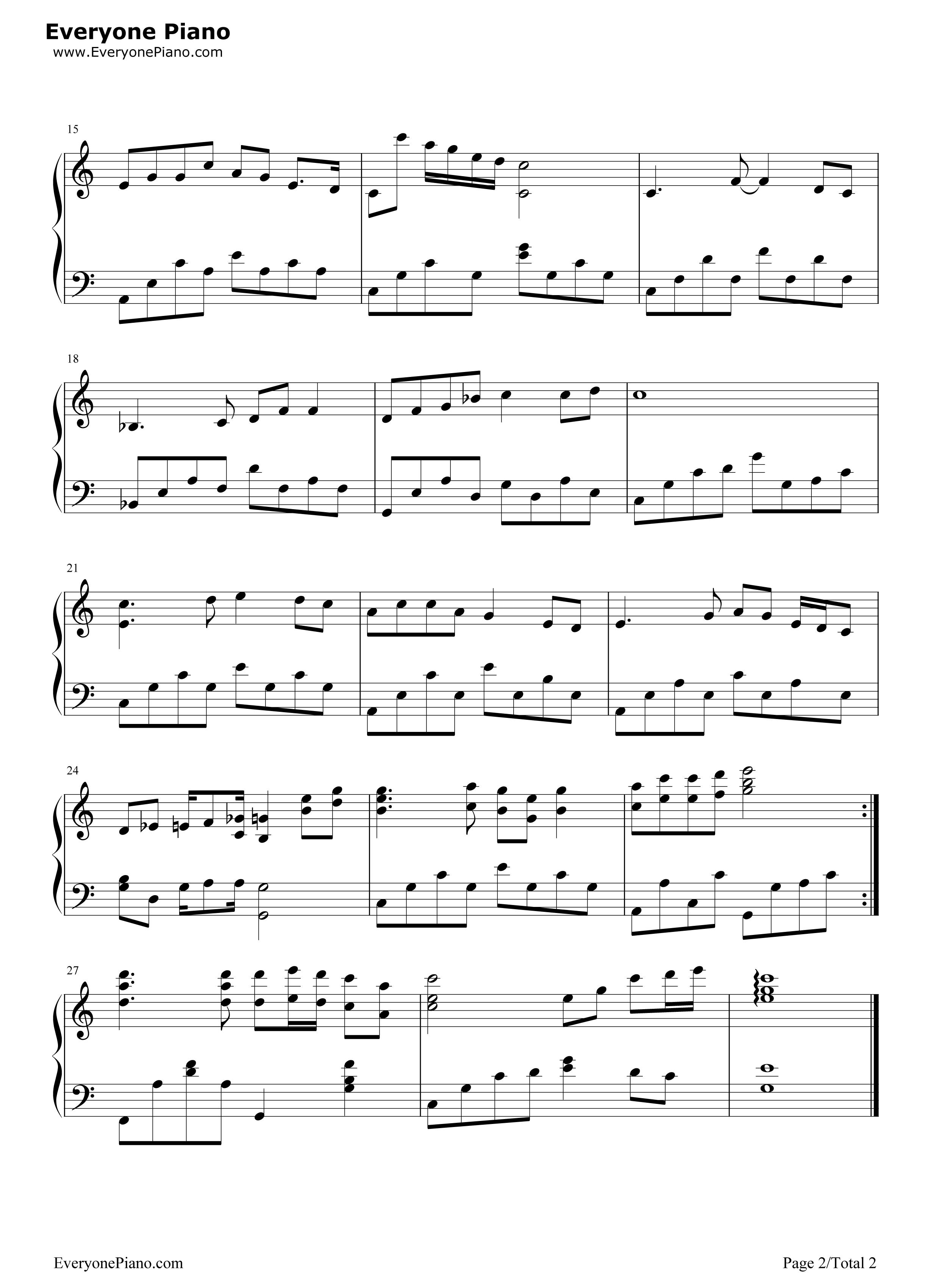 北国之春五线谱预览2-钢琴谱文件(五线谱,双手简谱,谱