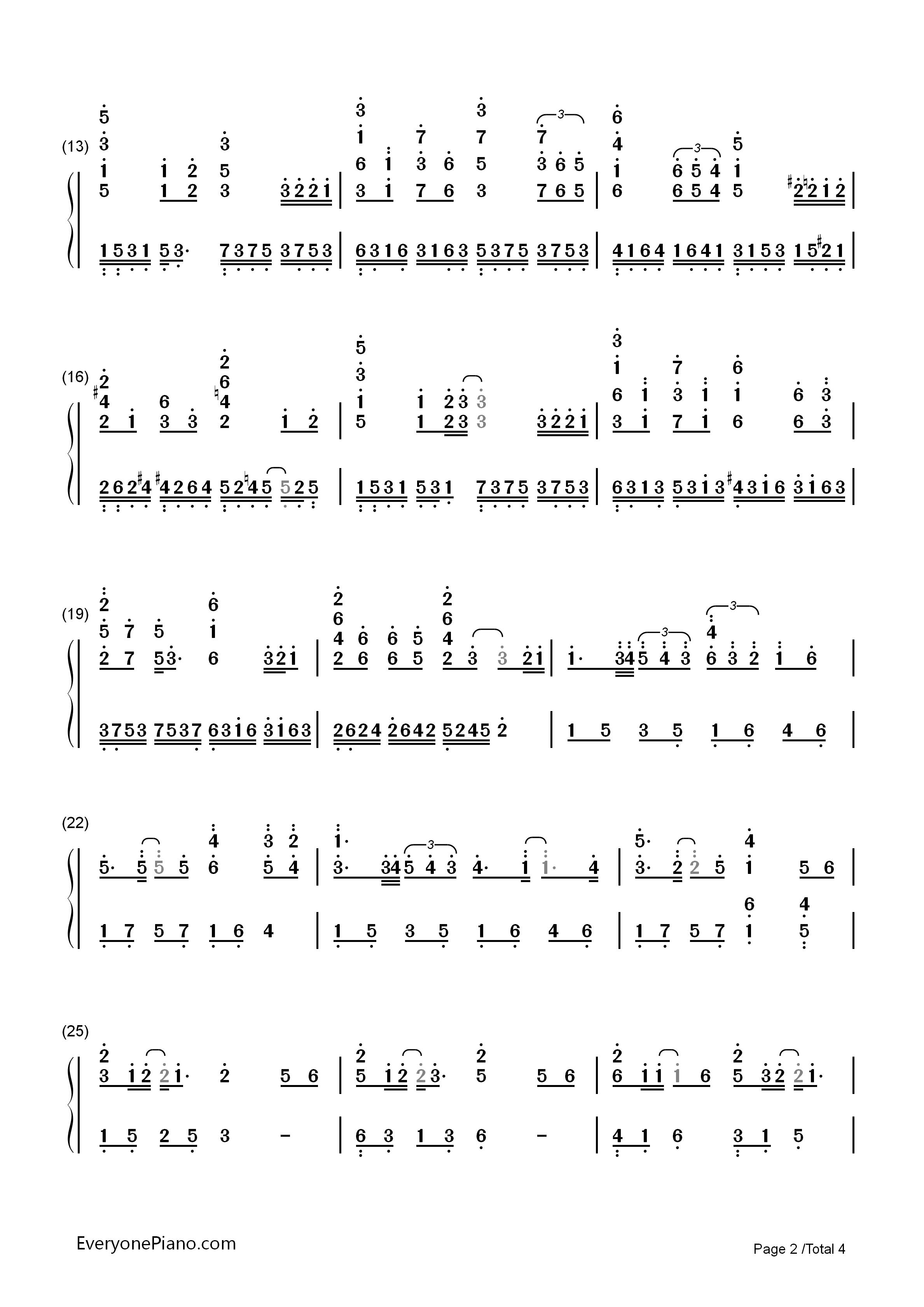 红豆双手简谱预览2-钢琴谱文件(五线谱,双手简谱,数字