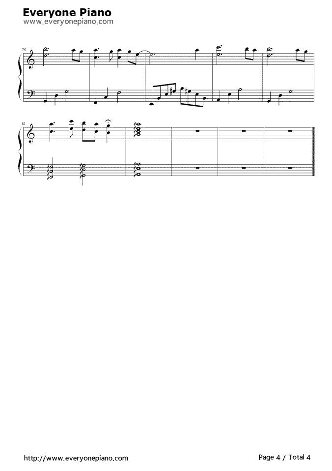 迷梦之恋五线谱预览4-钢琴谱(五线谱,双手简谱)免费