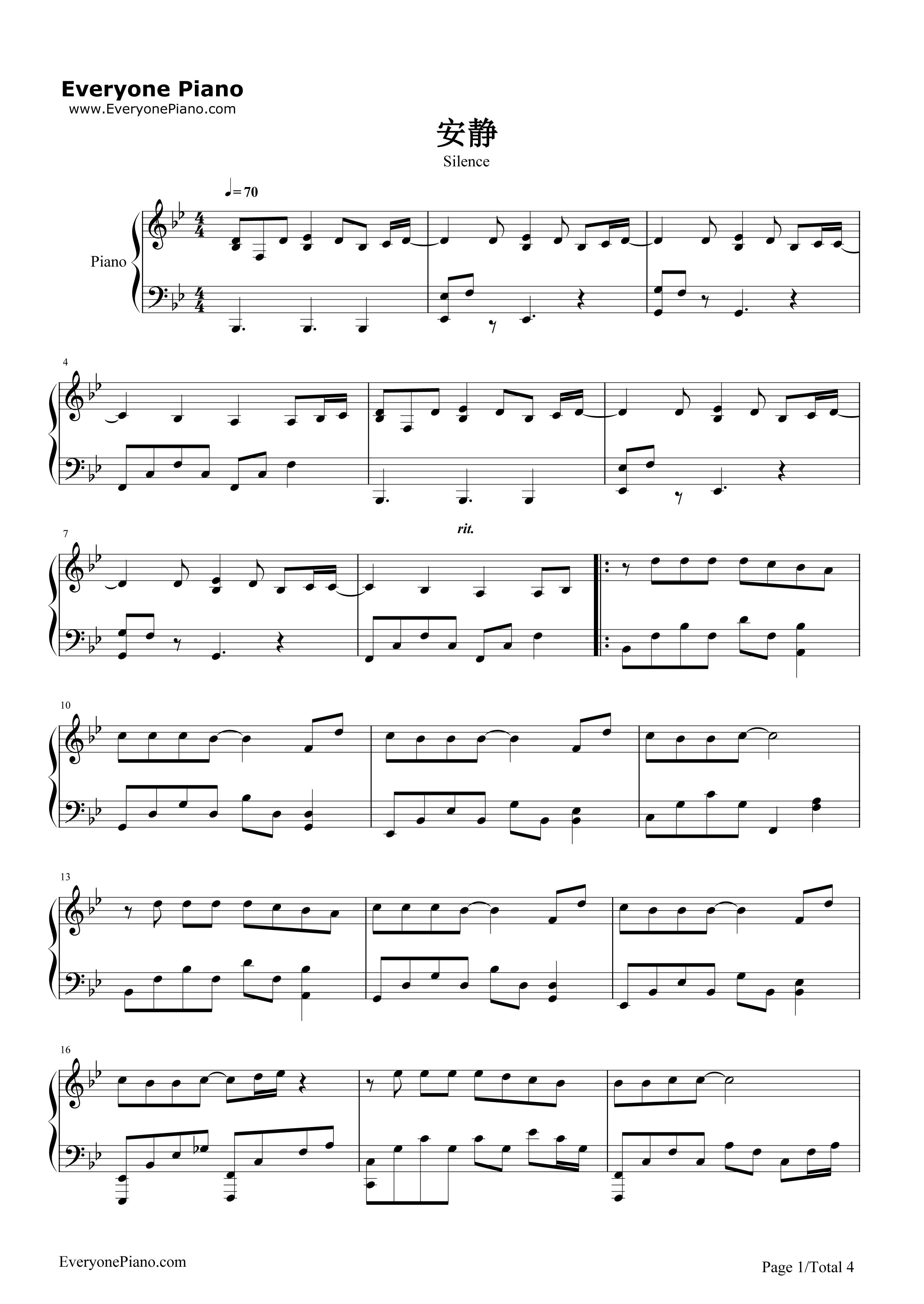 安静五线谱预览1-钢琴谱文件(五线谱,双手简谱,数字谱图片