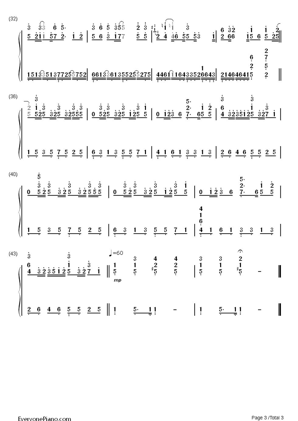 发如雪双手简谱预览3-钢琴谱文件(五线谱,双手简谱,谱