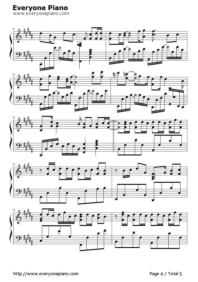 发如雪五线谱预览4-钢琴谱文件(五线谱,双手简谱,数字