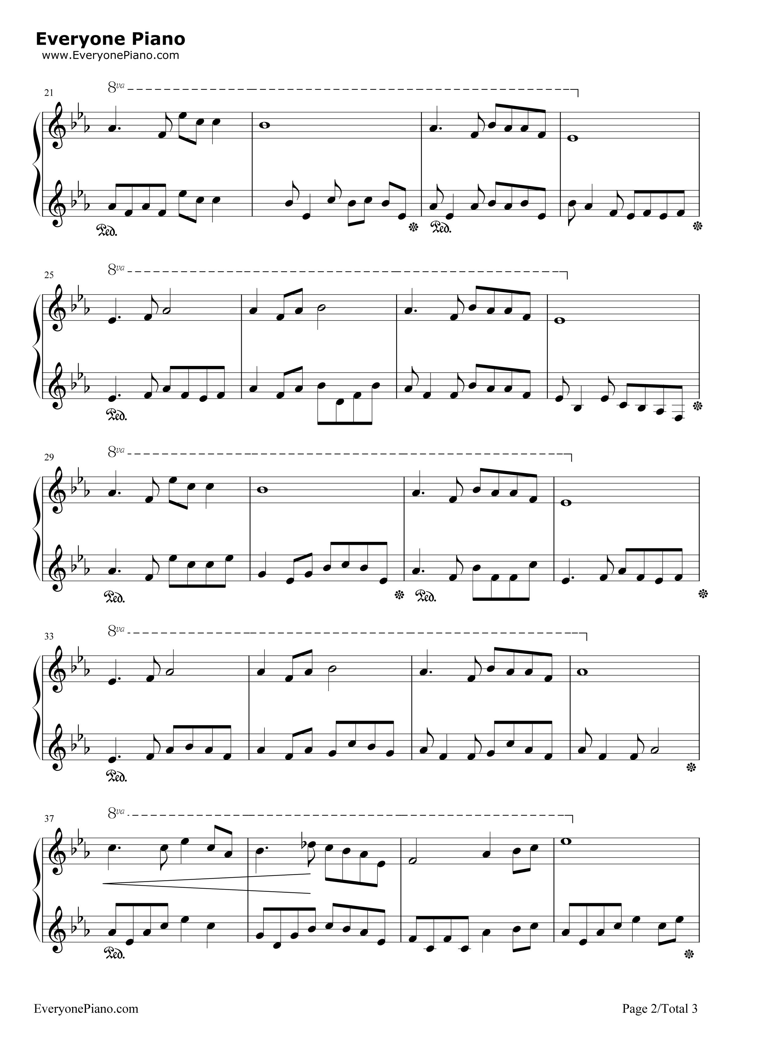 莫失莫忘五线谱预览2-钢琴谱(五线谱,双手简谱)免费