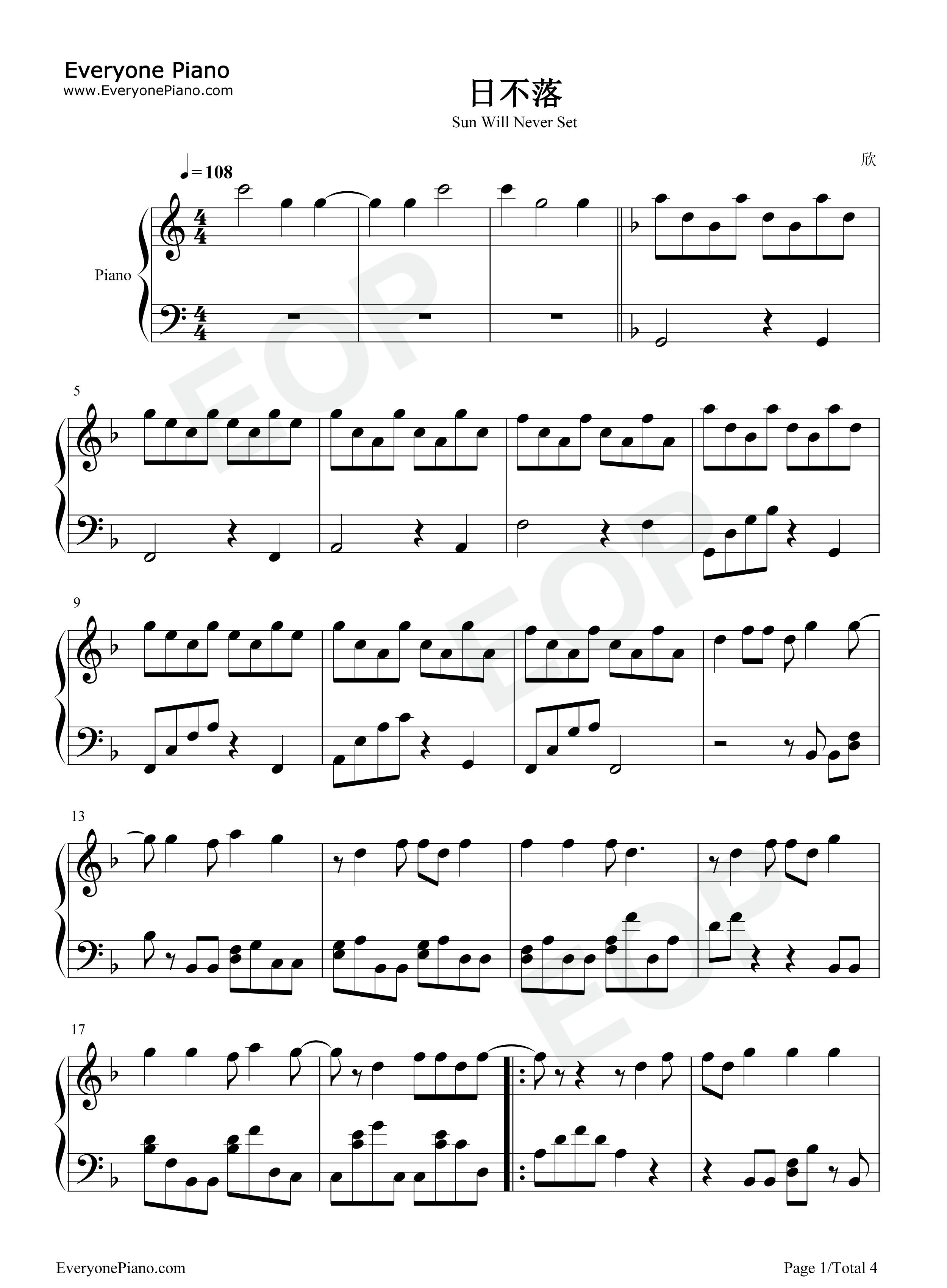 日不落五线谱预览1-钢琴谱文件(五线谱,双手简谱,数字
