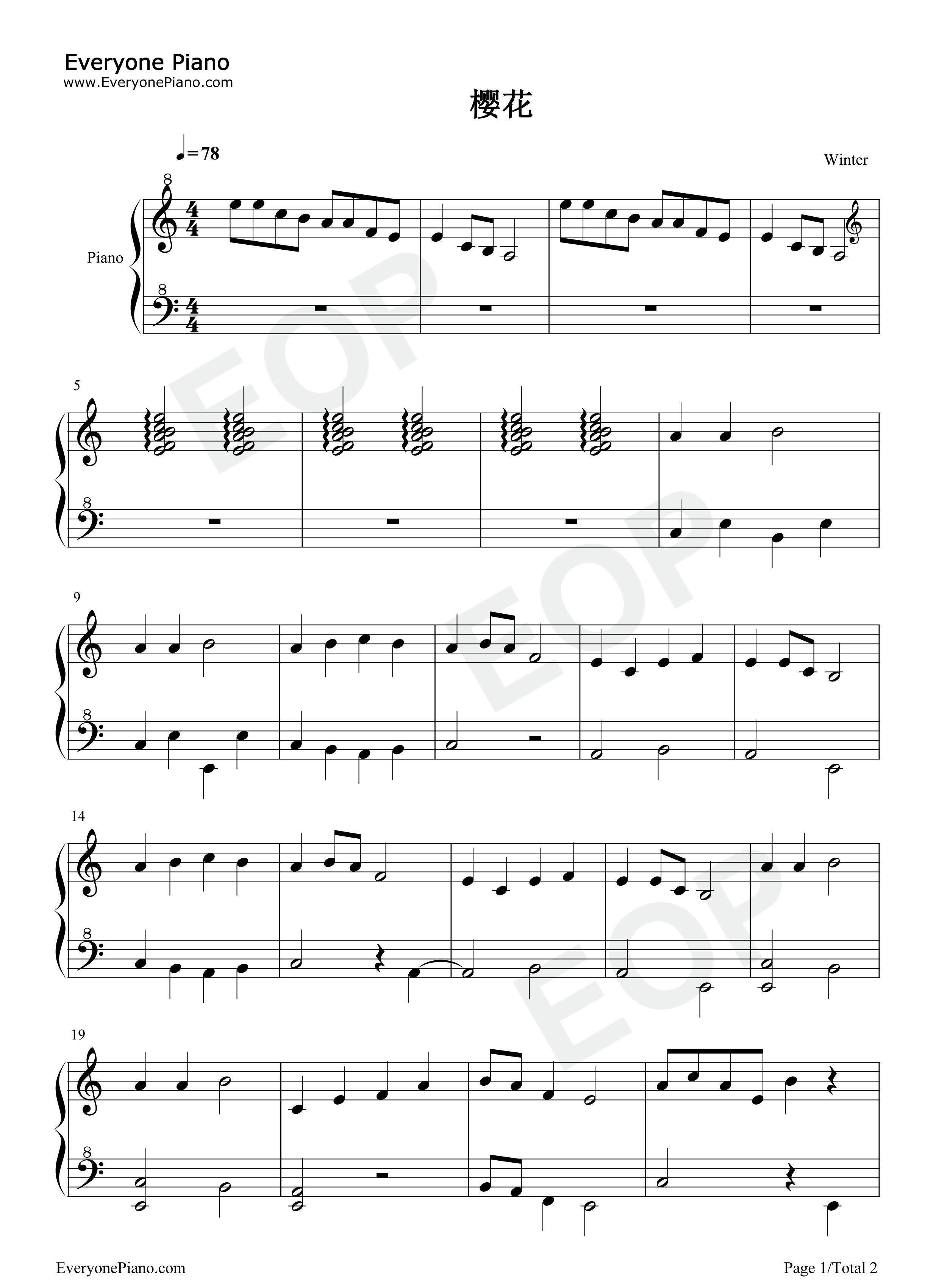 樱花五线谱预览1-钢琴谱文件(五线谱,双手简谱,数字谱图片
