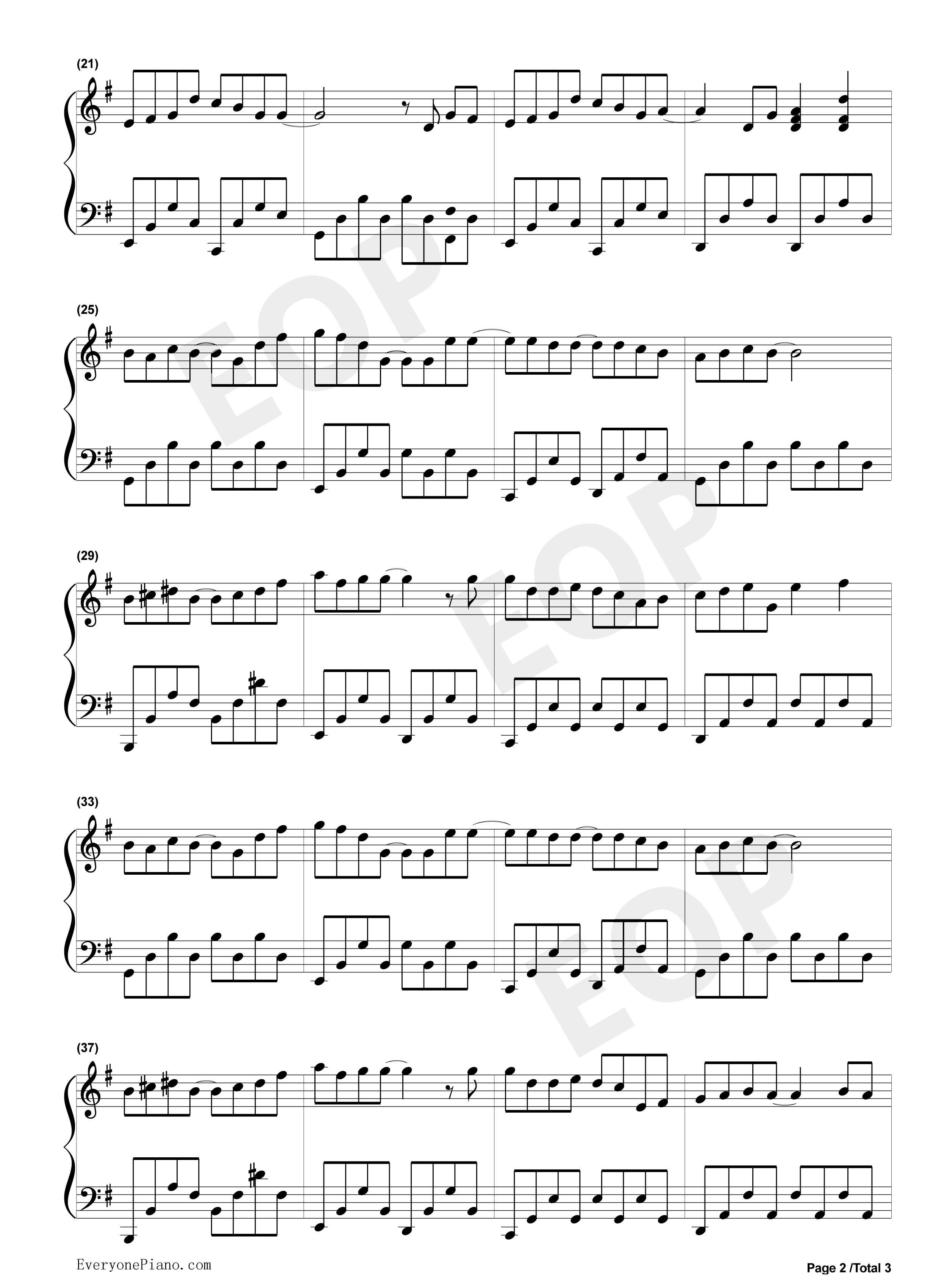晴天五线谱预览2-钢琴谱(五线谱,双手简谱)免费下载