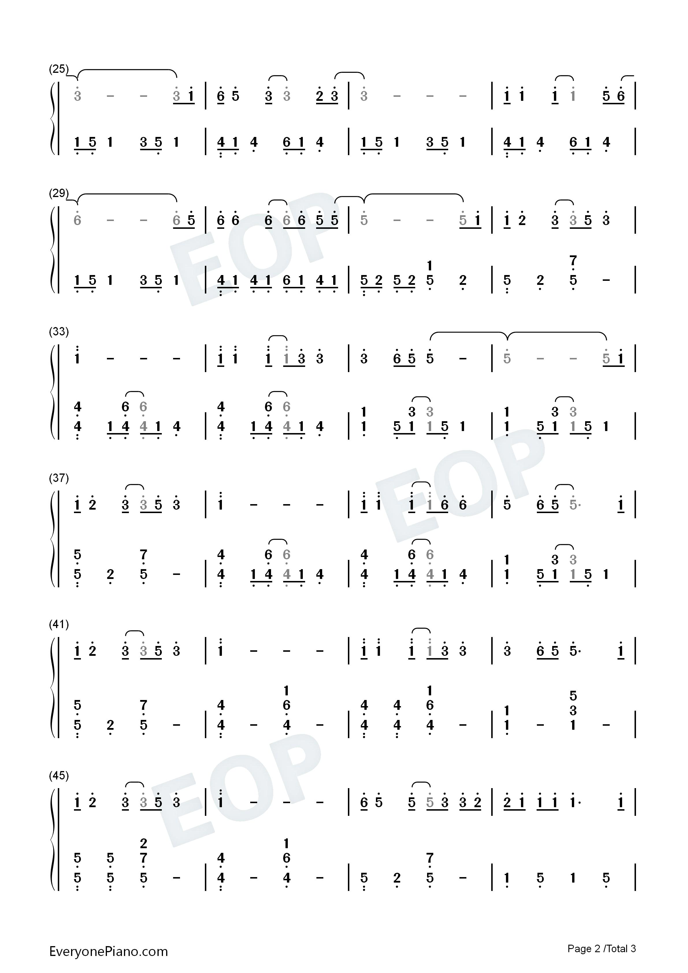 钢琴曲谱 流行 私奔 私奔双手简谱预览2  亲,在你免费下载谱子之后,请