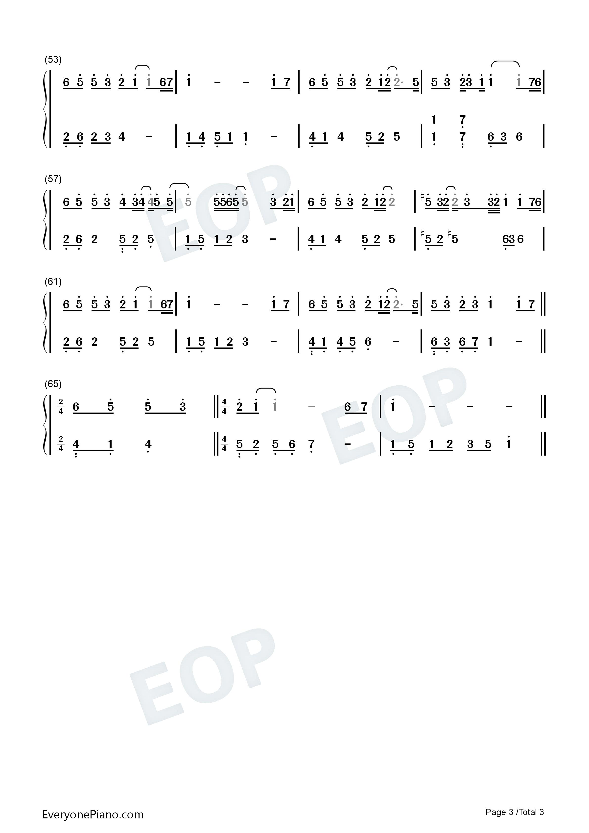 钢琴曲谱 其他 猜不透 猜不透双手简谱预览3   仅供个人学习交流使用