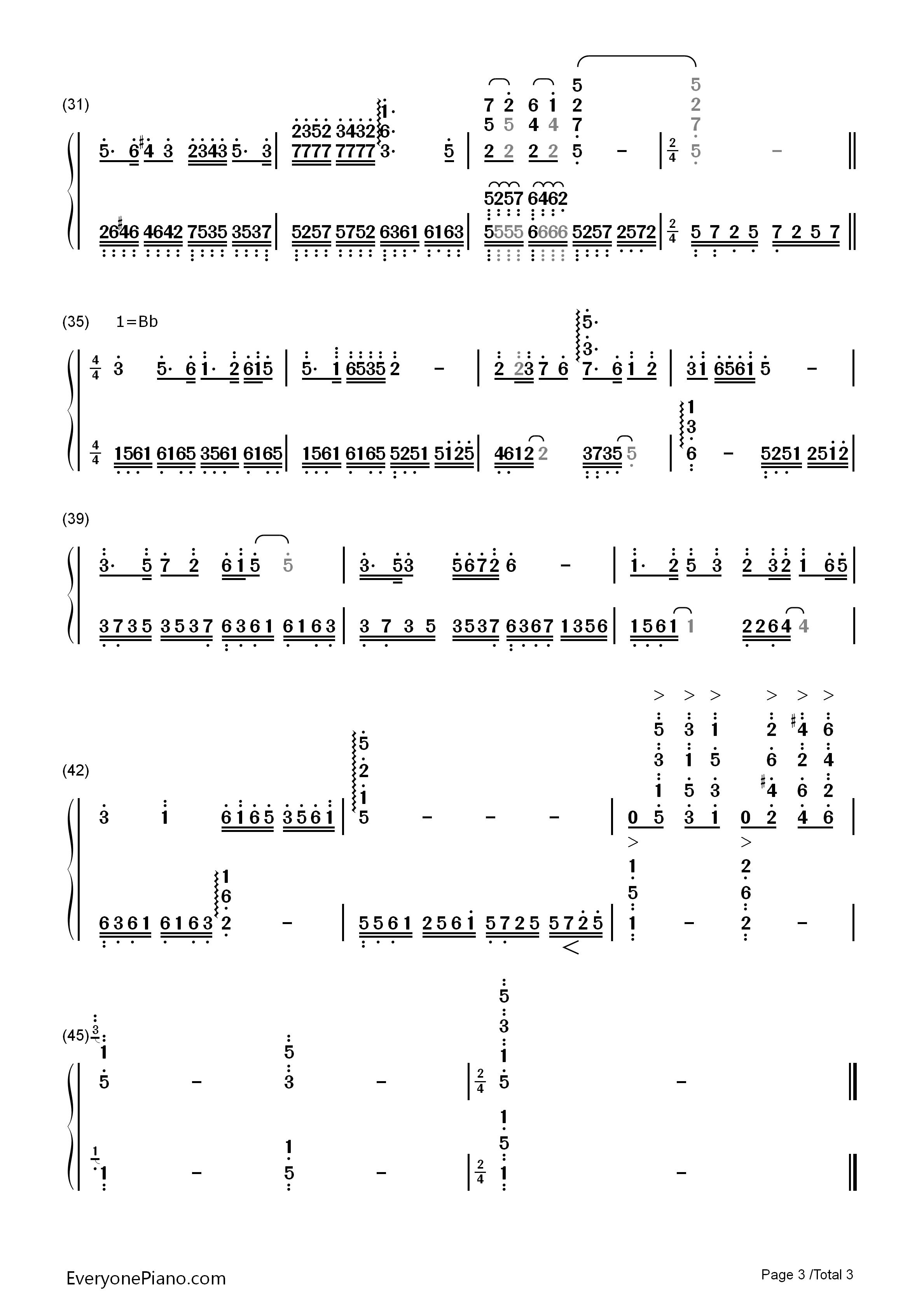 梁祝双手简谱预览3-钢琴谱(五线谱,双手简谱)免费下载