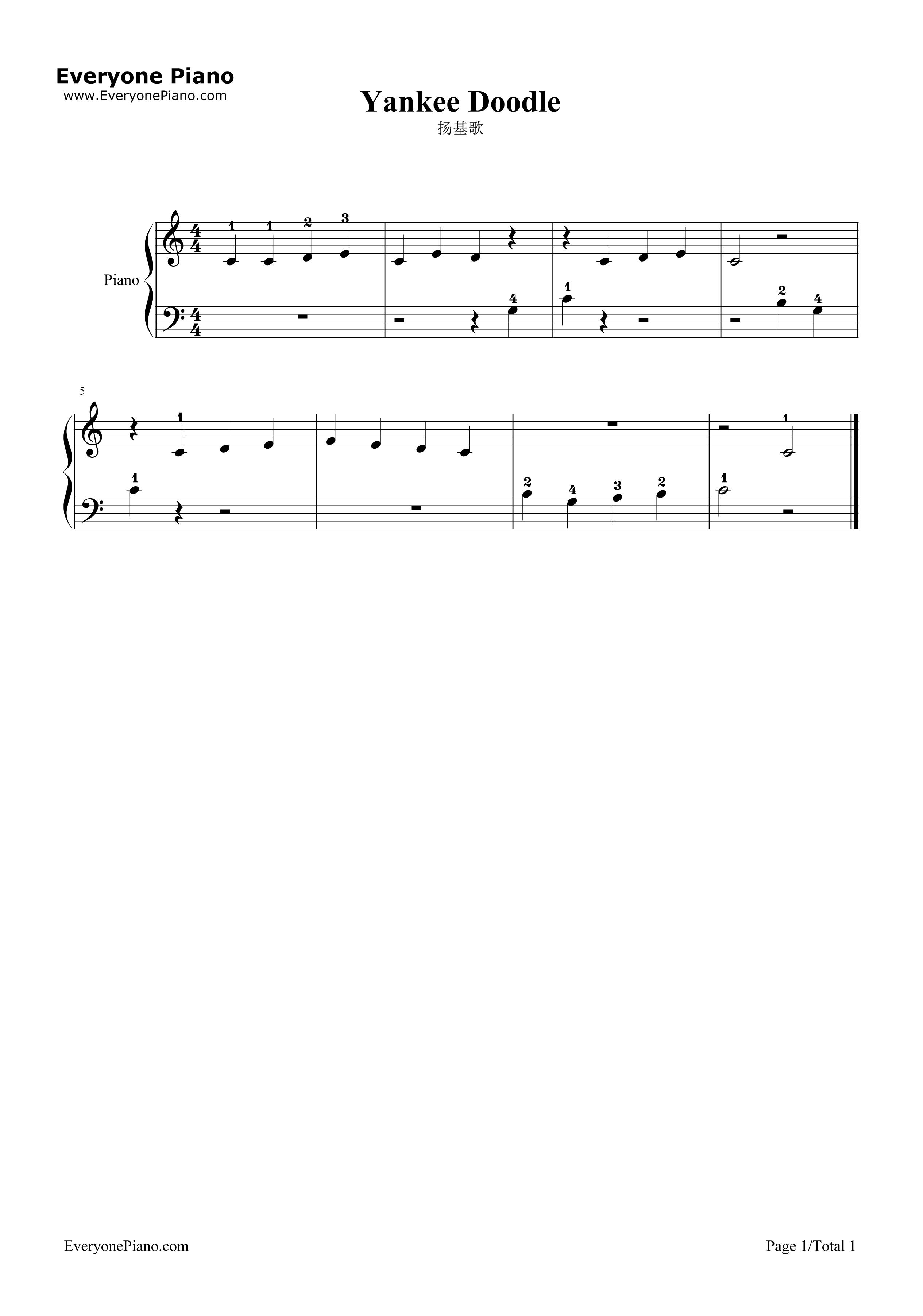 扬基歌五线谱预览1