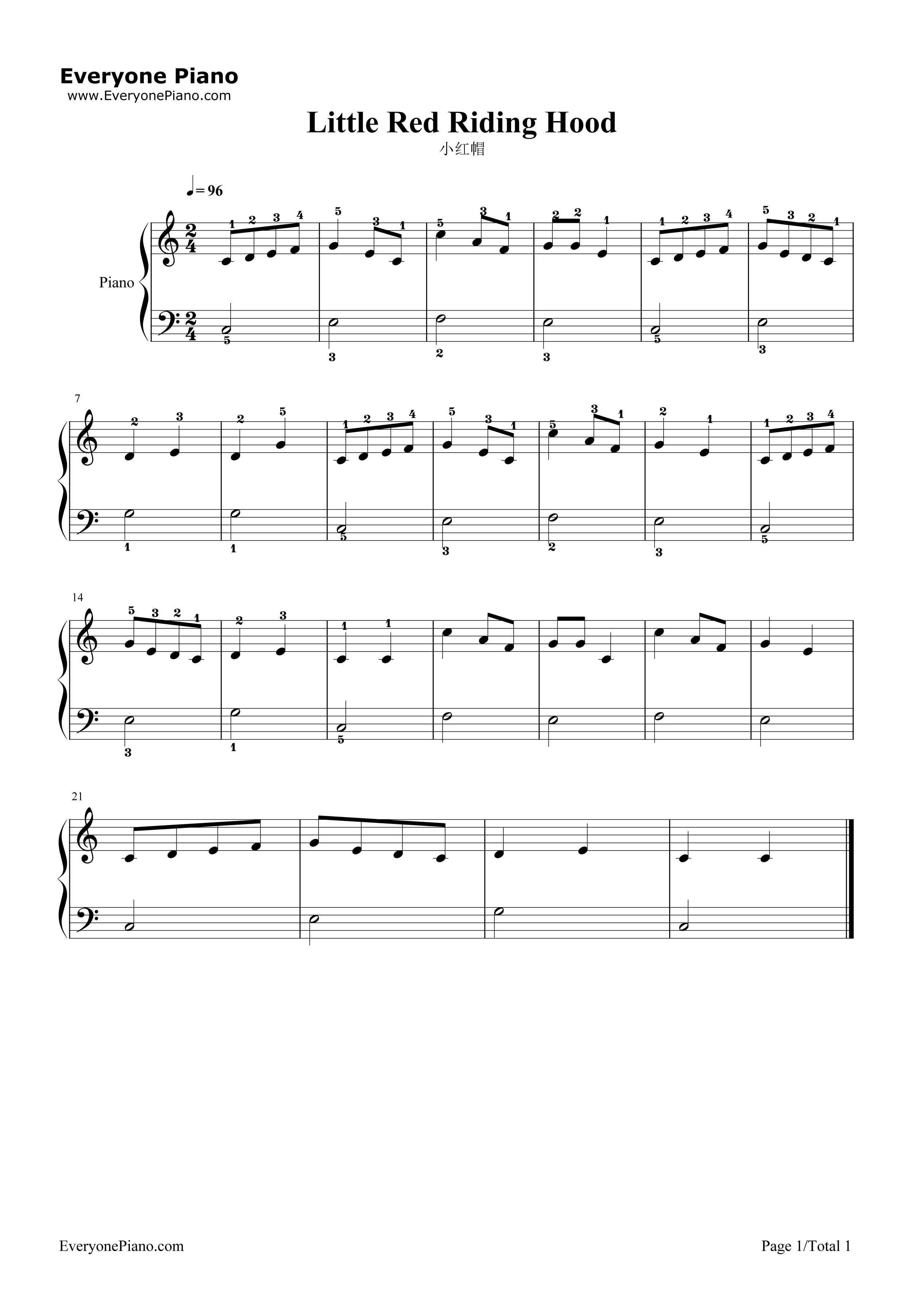 小红帽五线谱预览1-钢琴谱文件(五线谱,双手简谱,数字图片