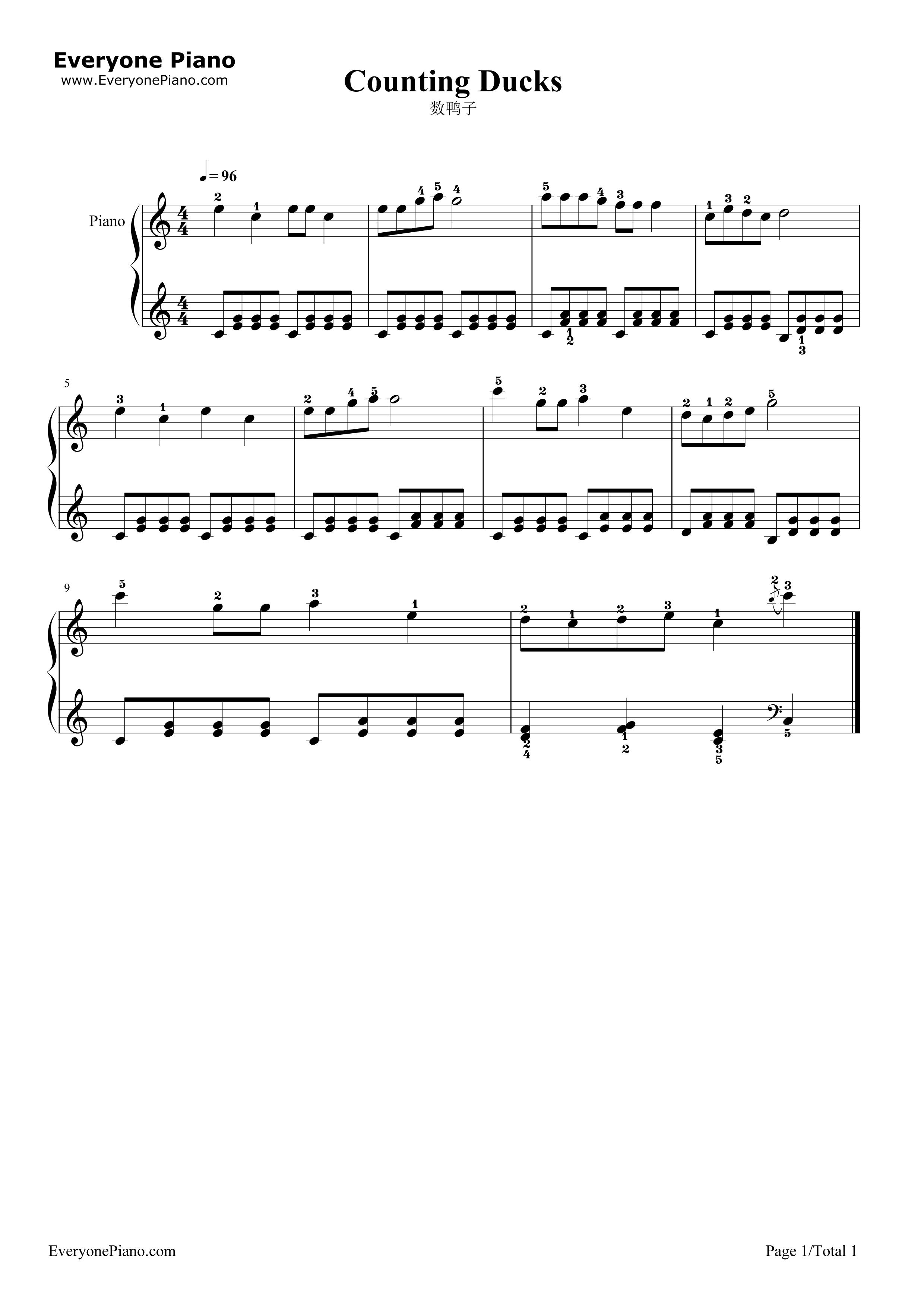 数鸭子五线谱预览1-钢琴谱