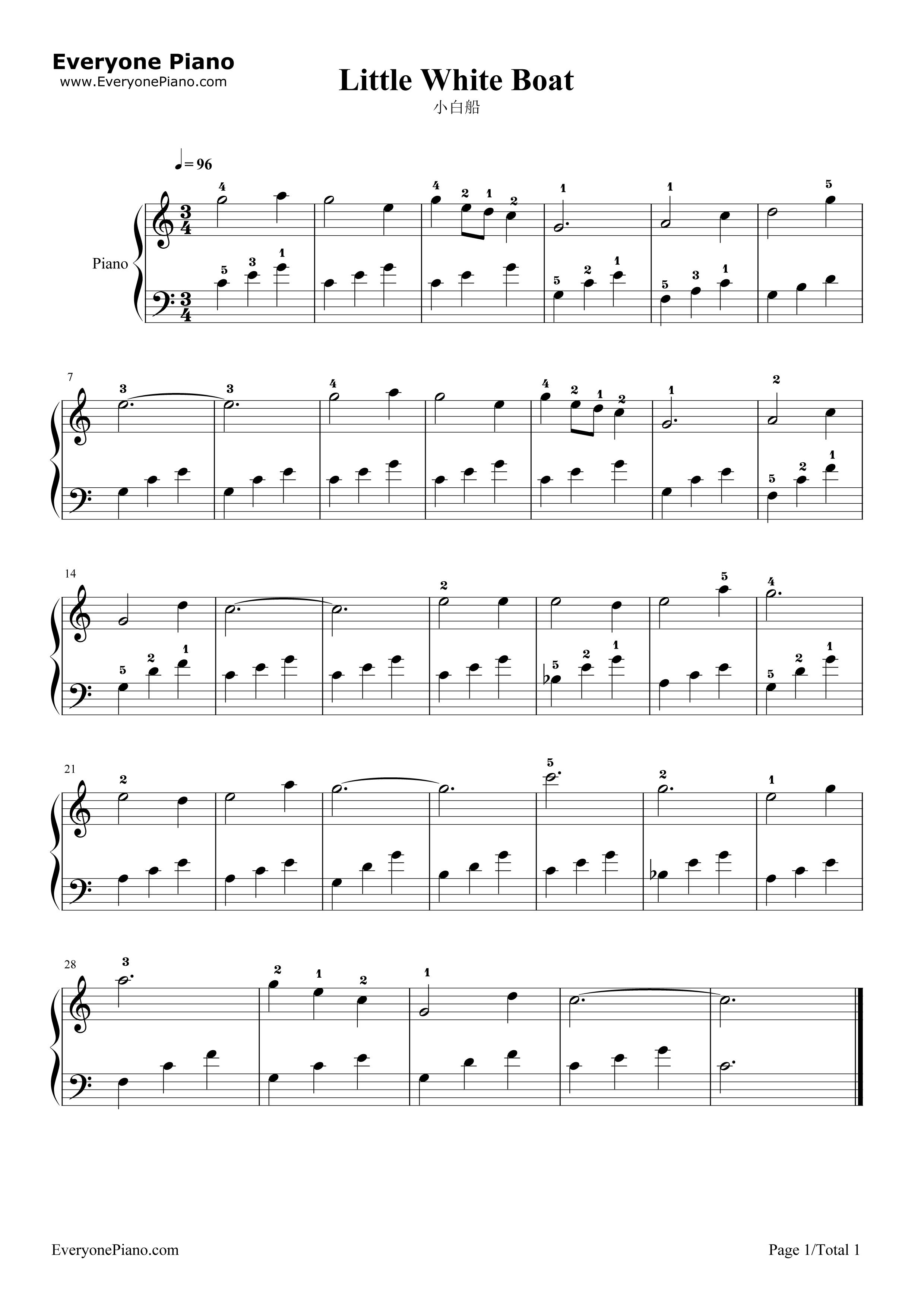小白船五线谱预览1-钢琴谱文件(五线谱,双手简谱,数字图片