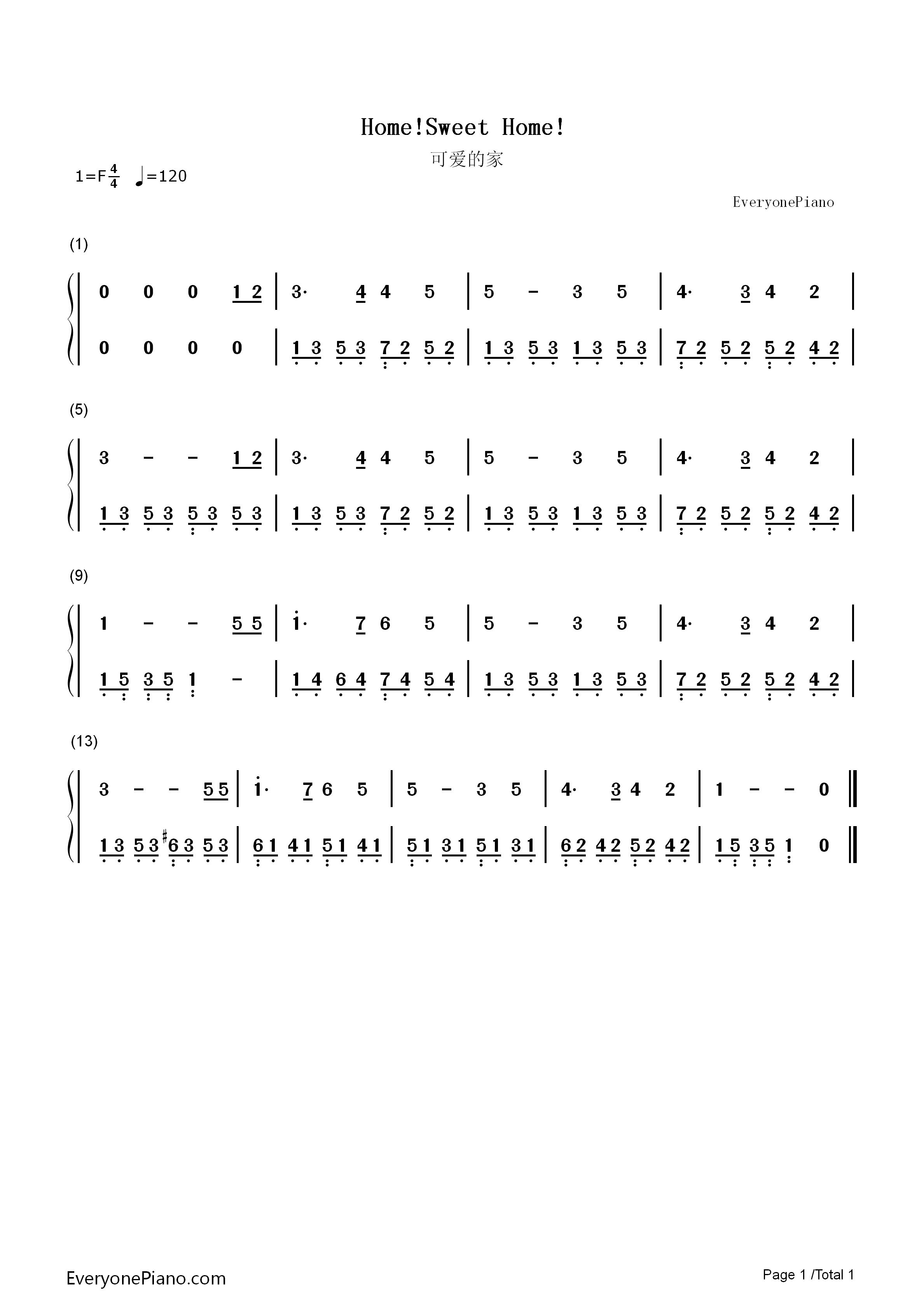 可爱的家双手简谱预览1-钢琴谱文件(五线谱,双手简谱