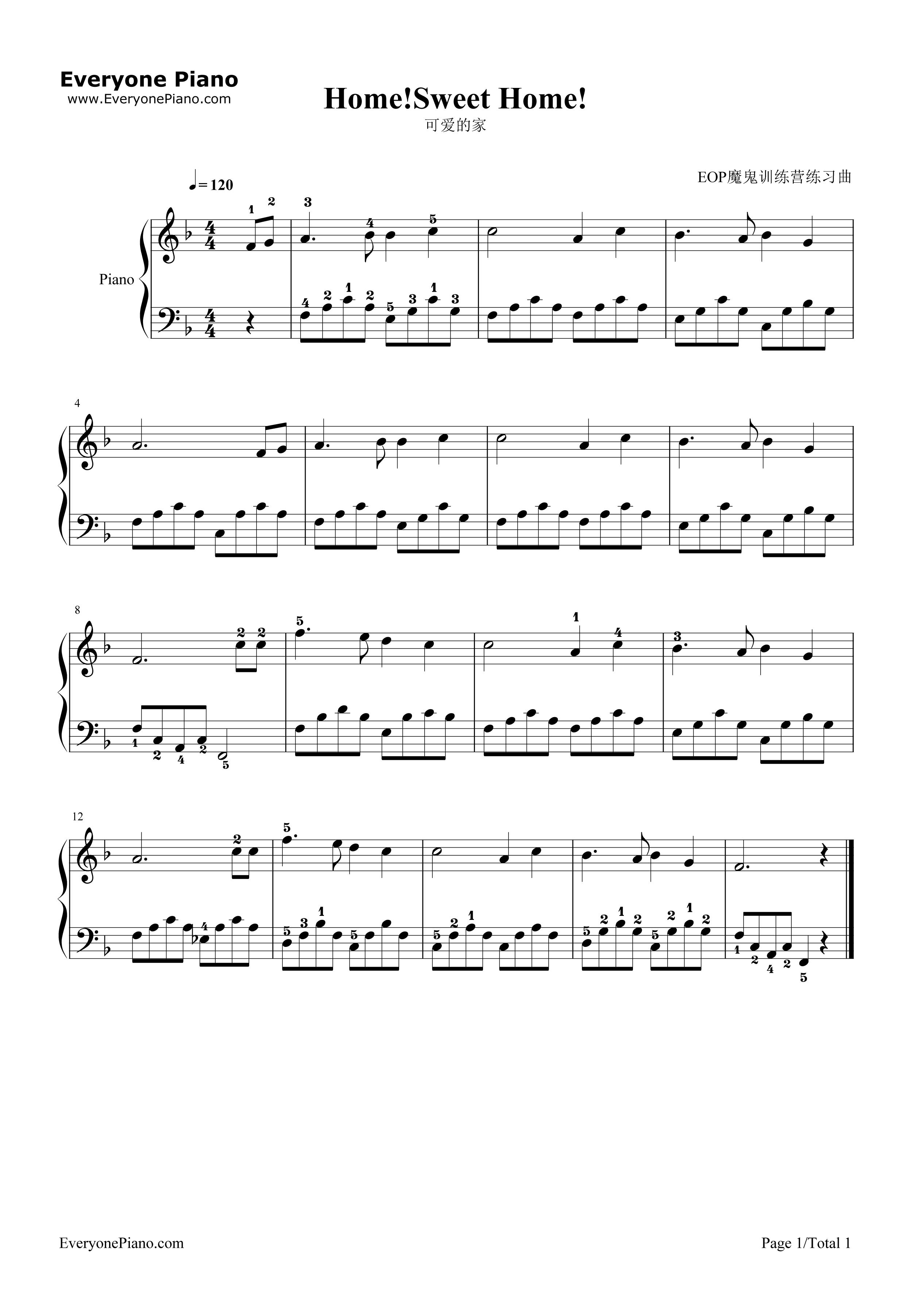 可爱的家五线谱预览1-钢琴谱(五线谱,双手简谱)免费
