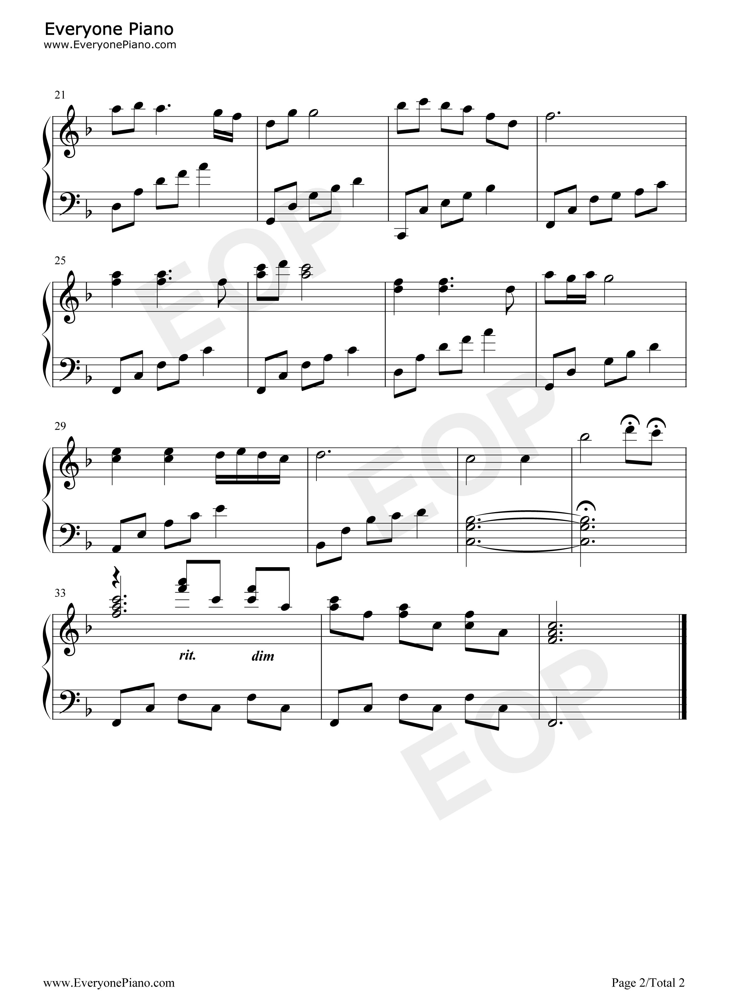 大海啊故乡五线谱预览2-钢琴谱(五线谱,双手简谱)免费
