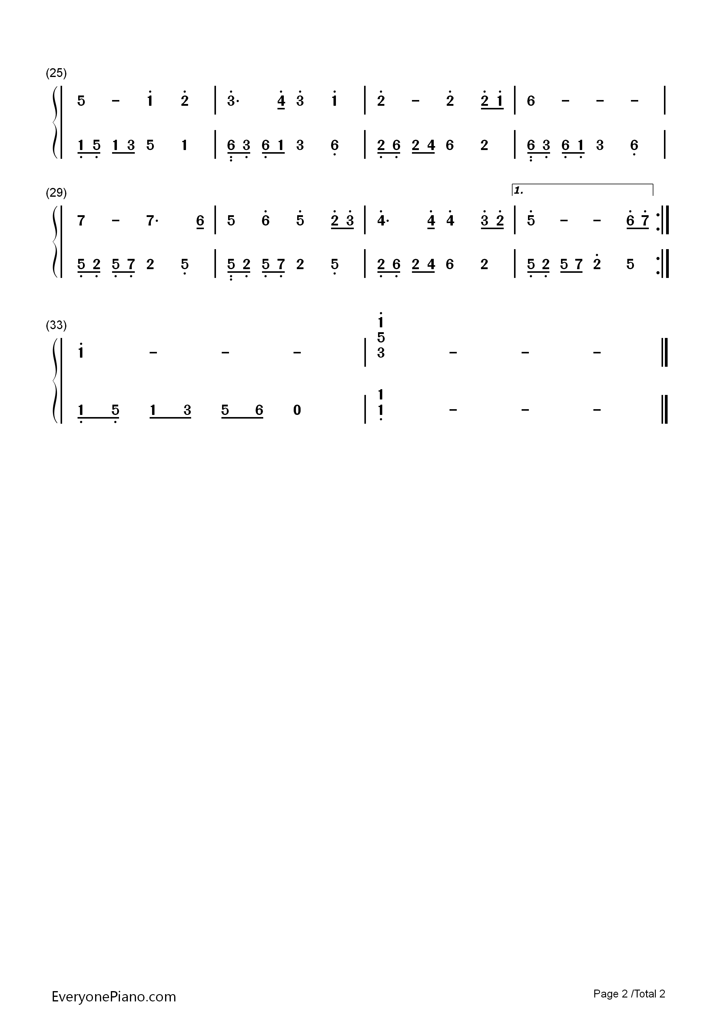同一首歌双手简谱预览2-钢琴谱(五线谱,双手简谱)免费图片