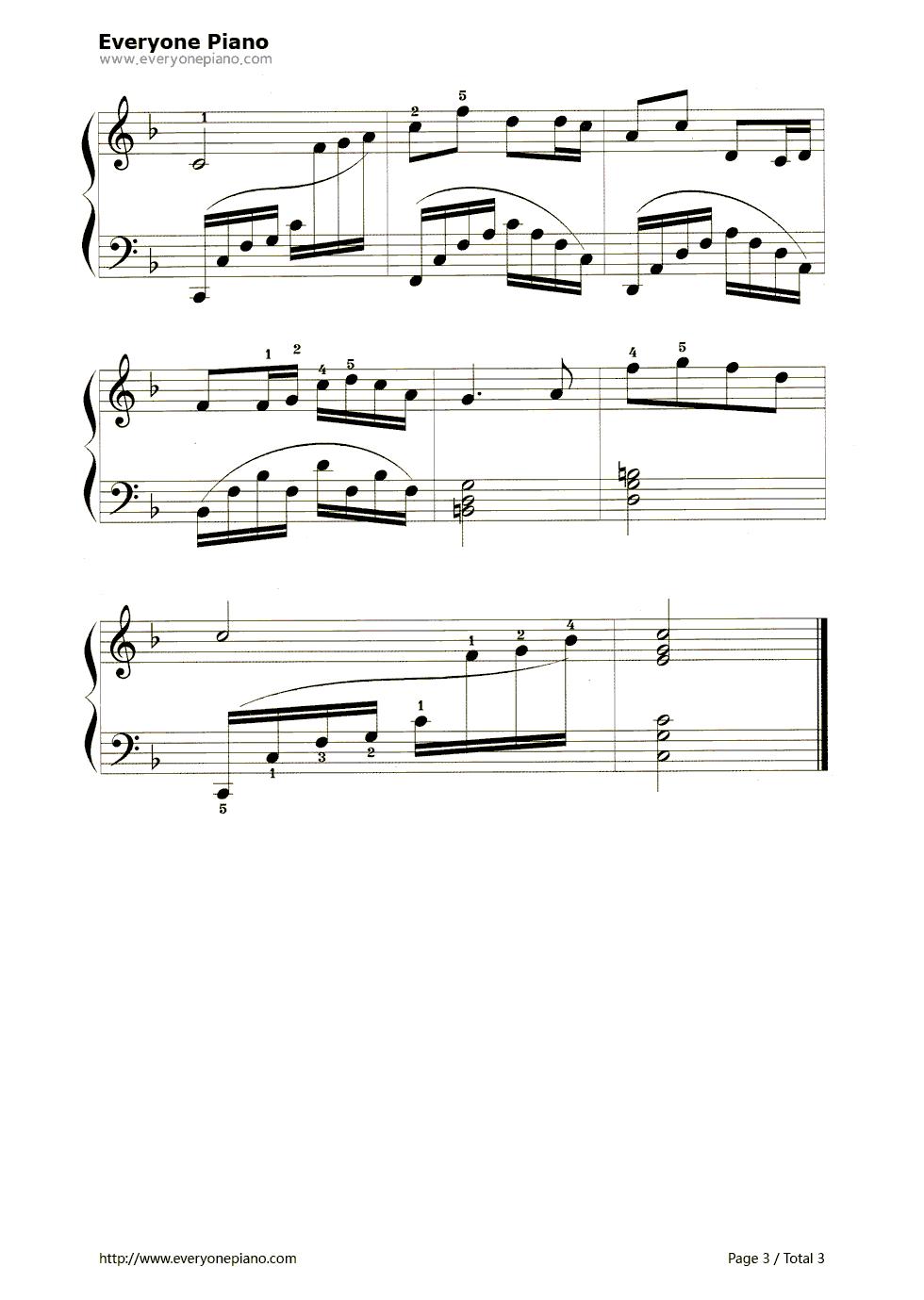 浏阳河五线谱预览3-钢琴谱(五线谱,双手简谱)免费下载