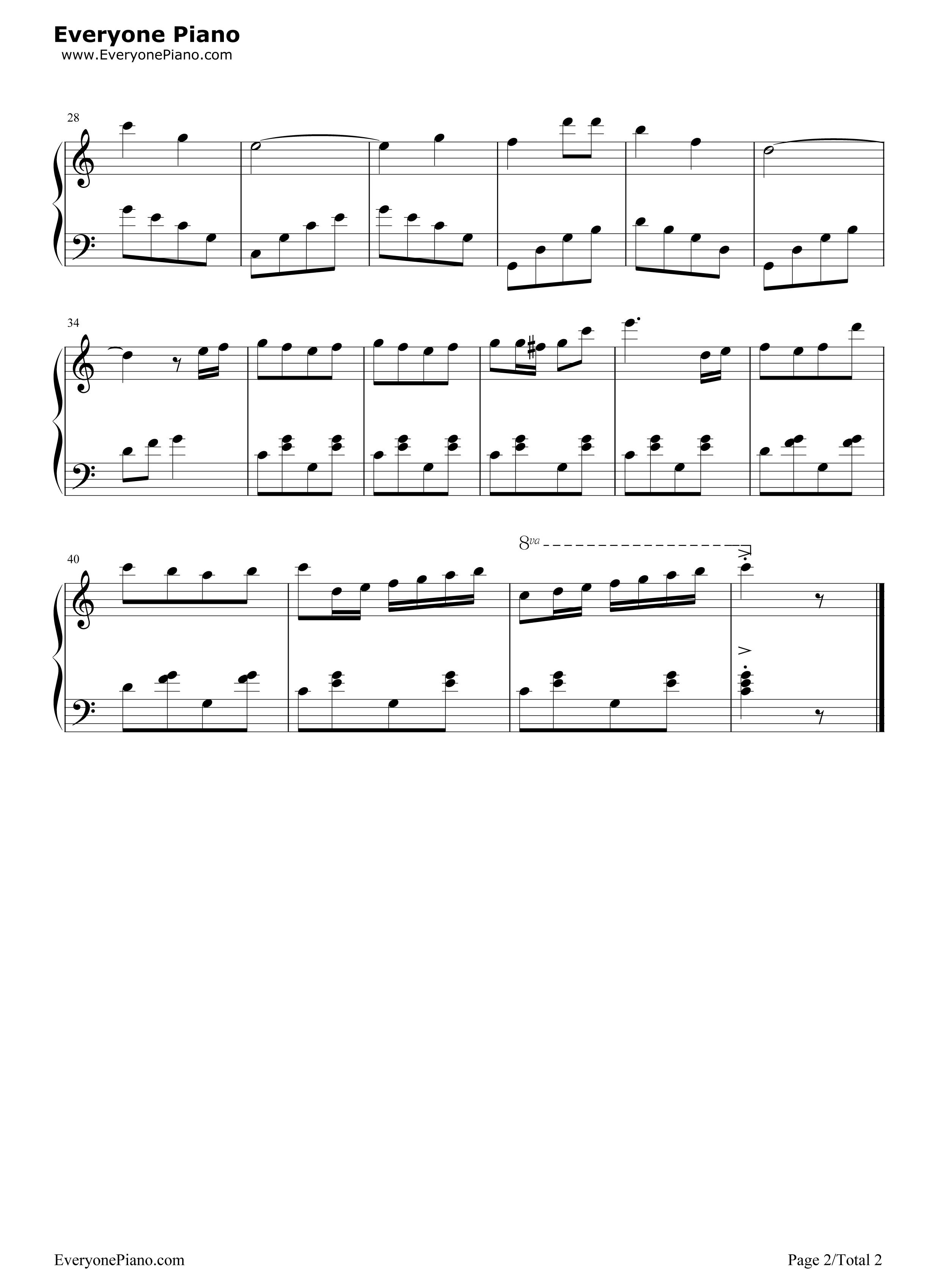 可爱的蓝精灵五线谱预览2-钢琴谱(五线谱,双手简谱)