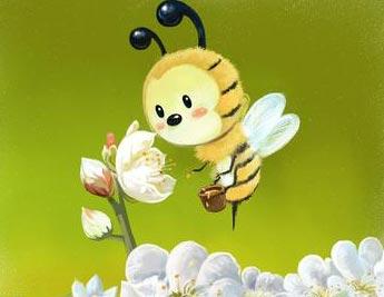 儿童画画图片花和蜜蜂