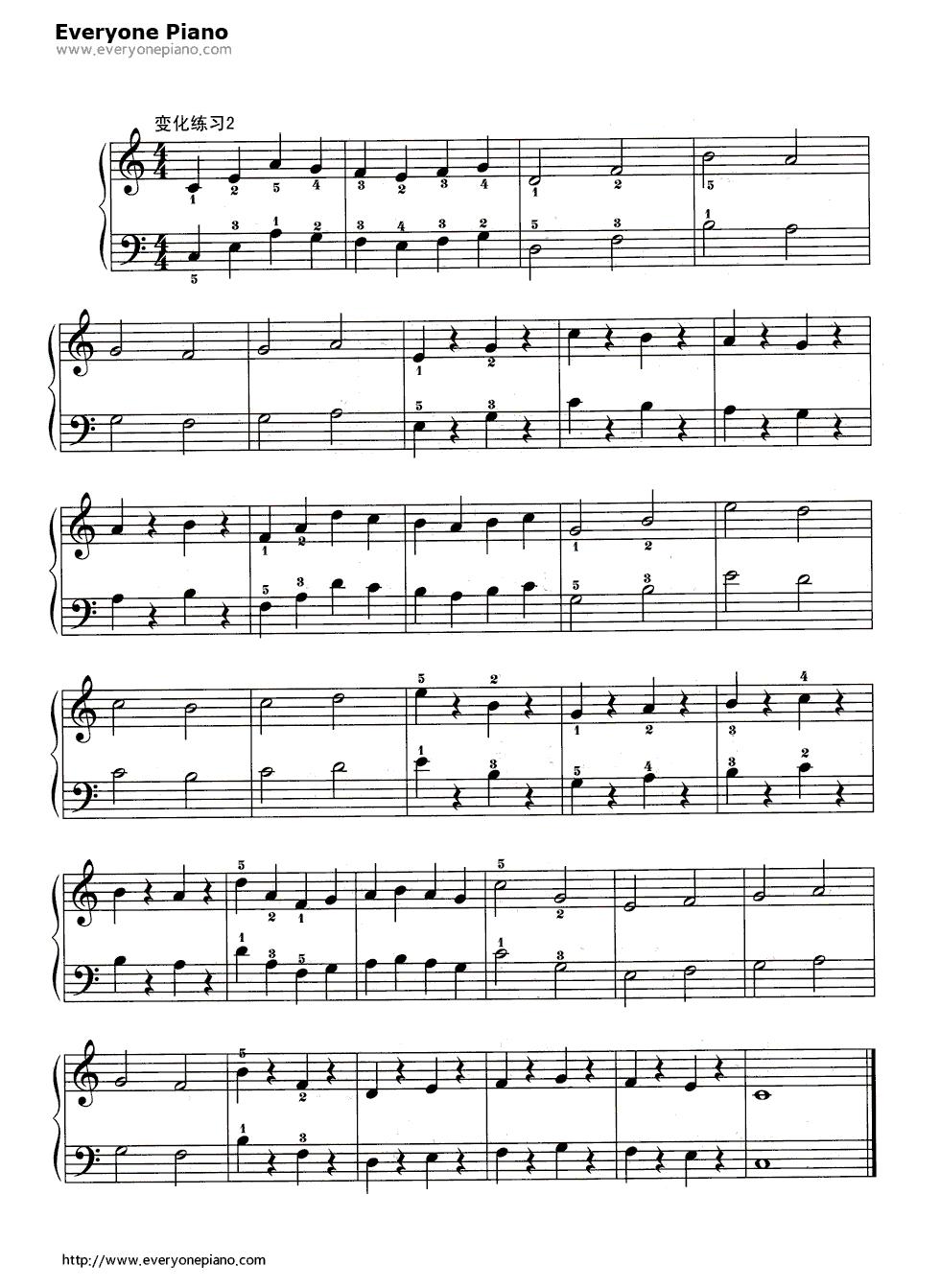 哈农基本练习3五线谱预览3