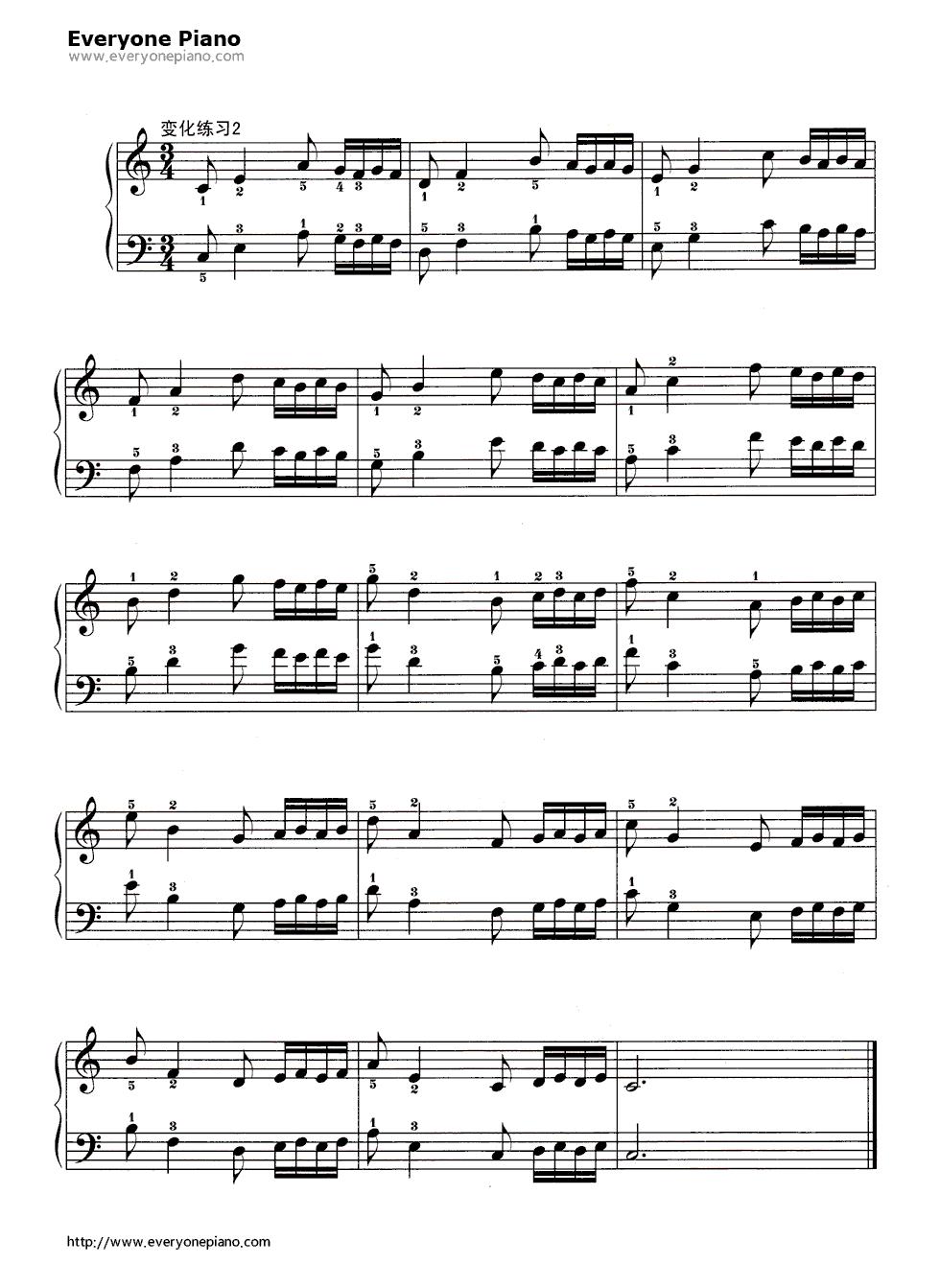 哈农基本练习11五线谱预览3-钢琴谱(五线谱,双手简谱)图片