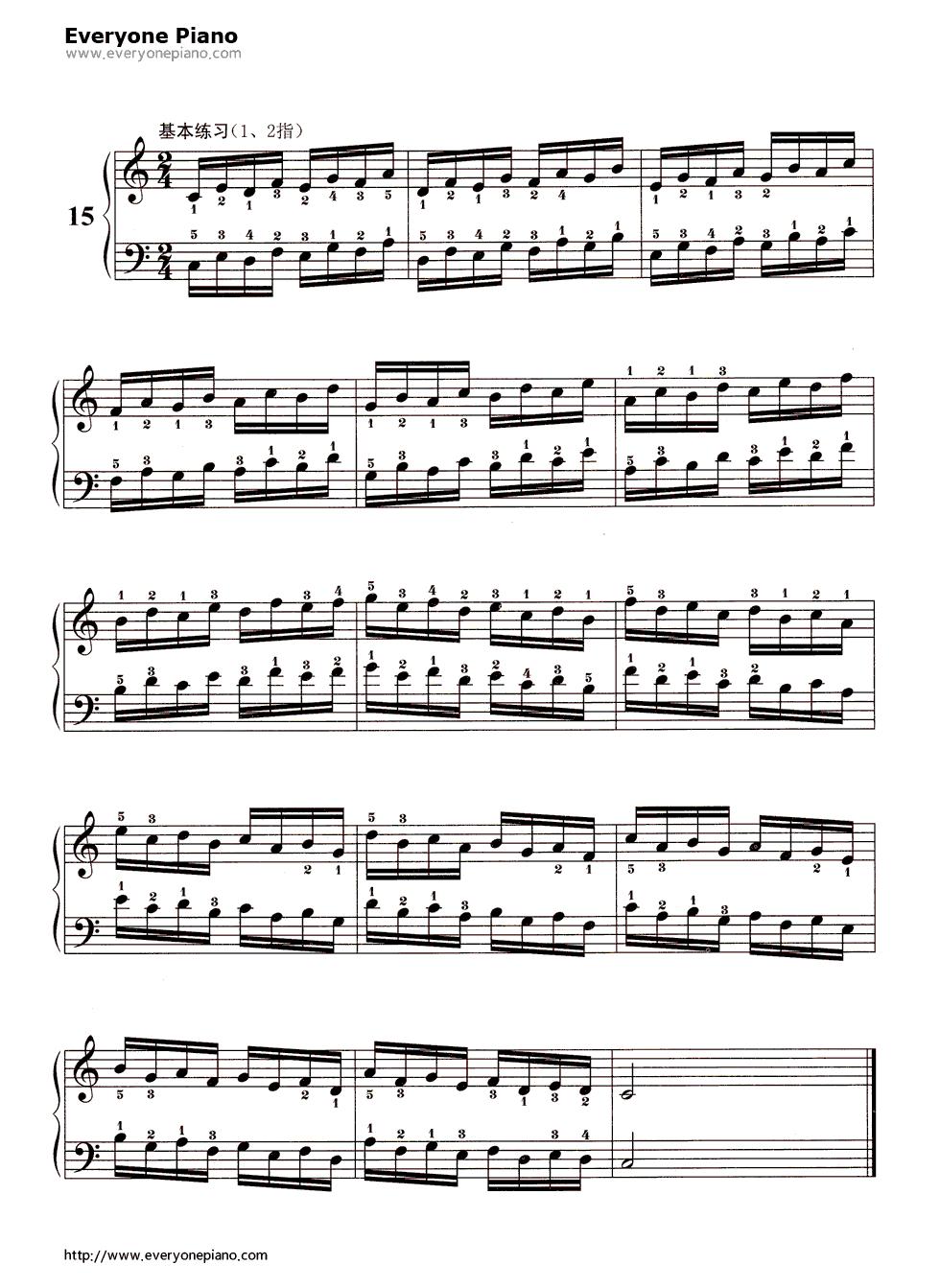 哈农基本练习15五线谱预览1-钢琴谱
