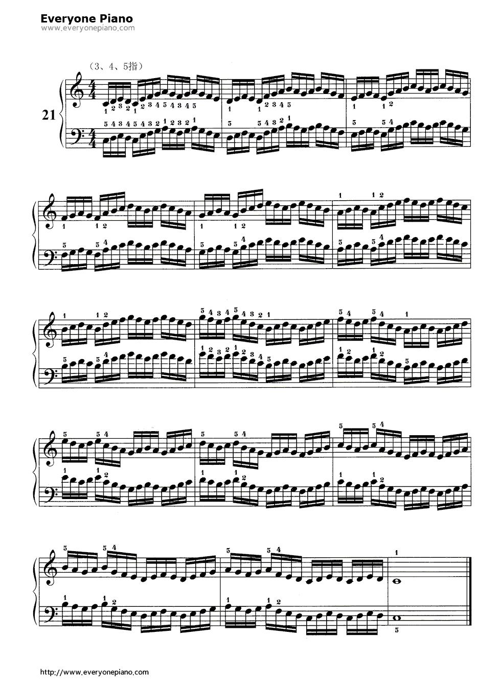 哈农基本练习21五线谱预览1-钢琴谱(五线谱,双手简谱)图片