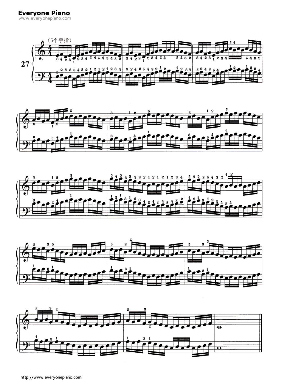 钢琴曲谱 练习曲 哈农基本练习27 哈农基本练习27五线谱预览1