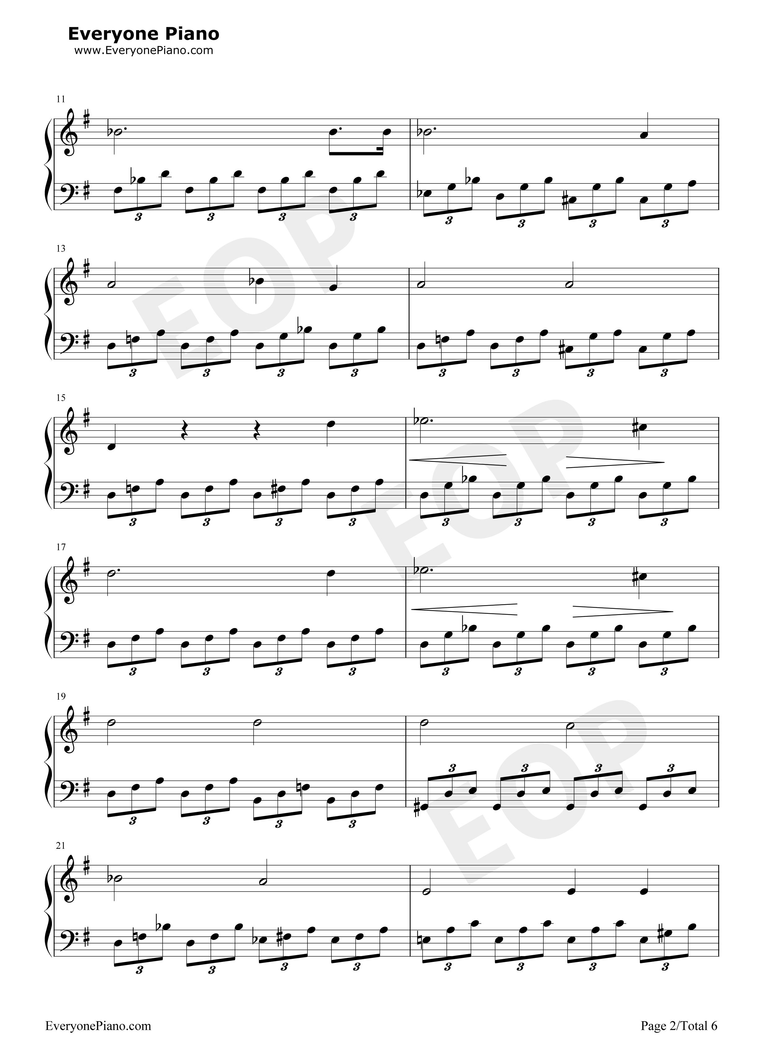 月光奏鸣曲五线谱预览2-钢琴谱(五线谱,双手简谱)免费