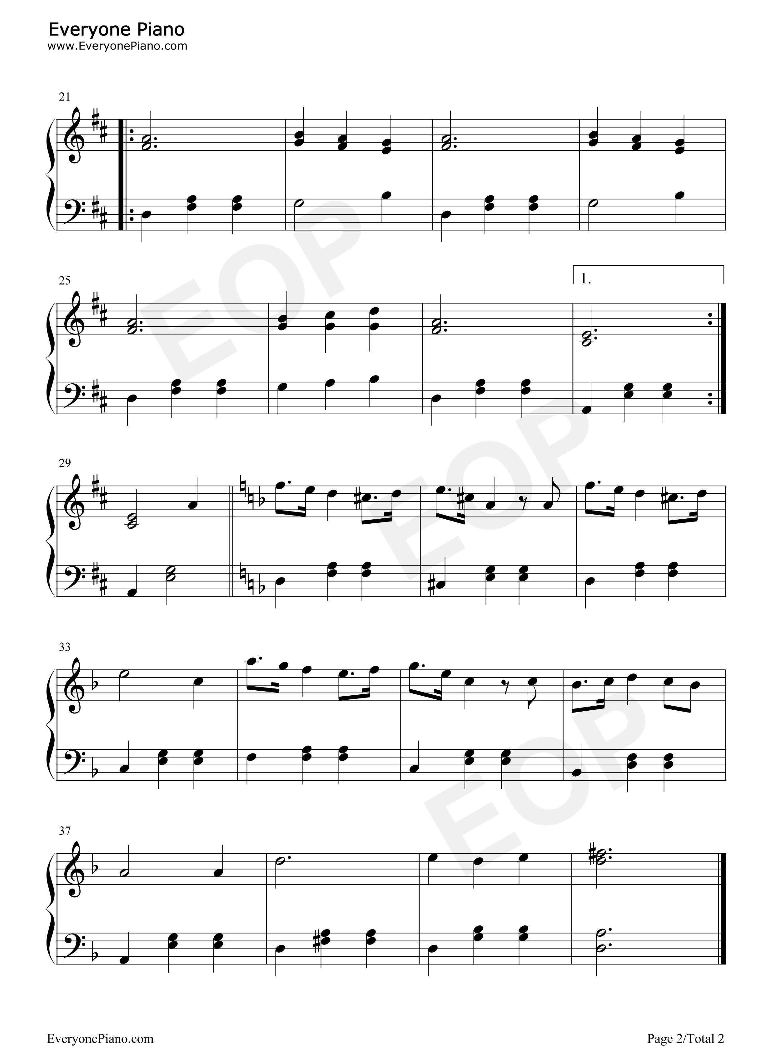 钢琴曲谱 流行 征服天堂 征服天堂五线谱预览2   仅供个人学习交流
