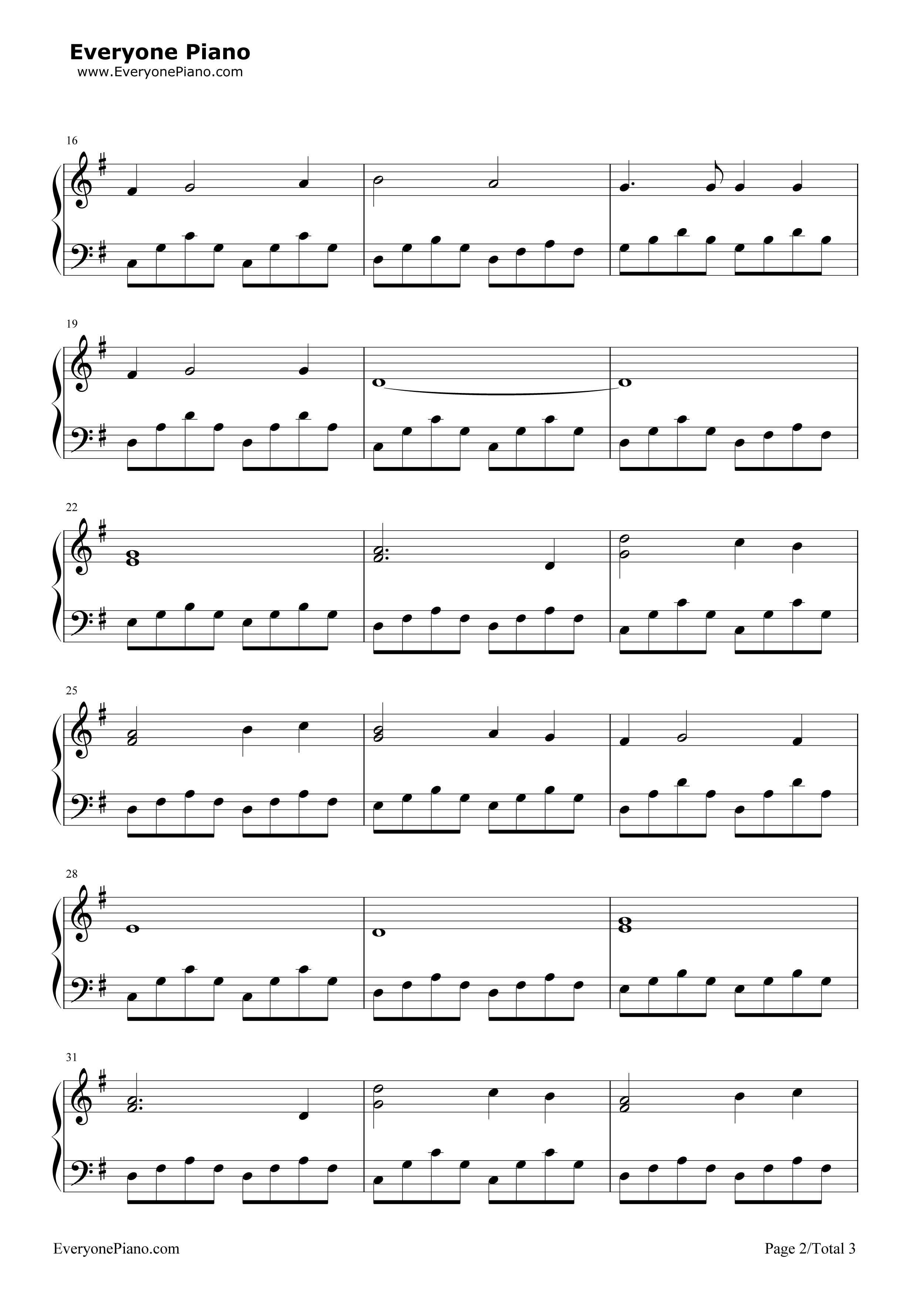 钢琴曲谱 经典 我心永恒 我心永恒五线谱预览2   仅供个人学习交流