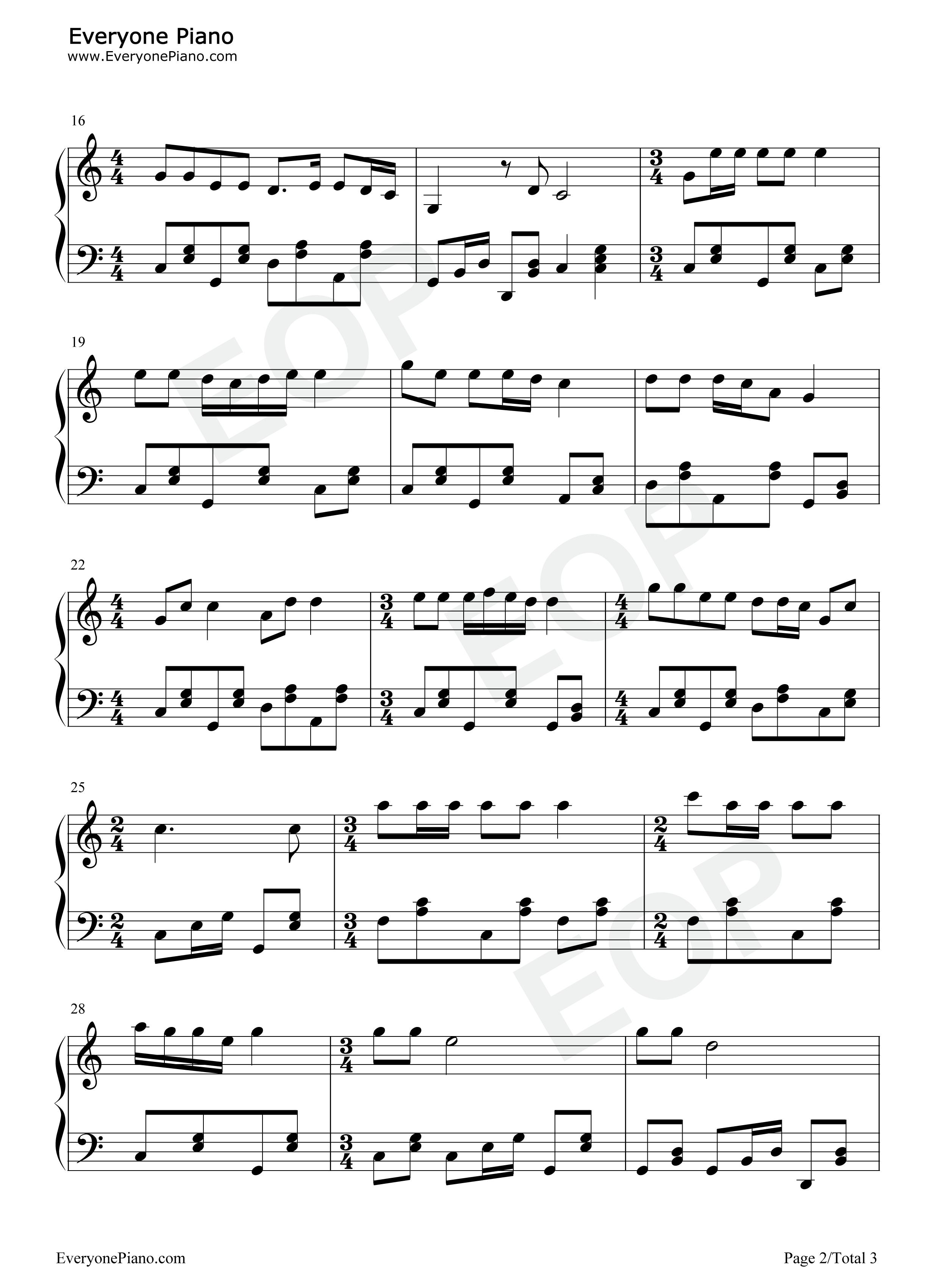 钢琴曲谱 民乐 年轻的朋友来相会 年轻的朋友来相会五线谱预览2