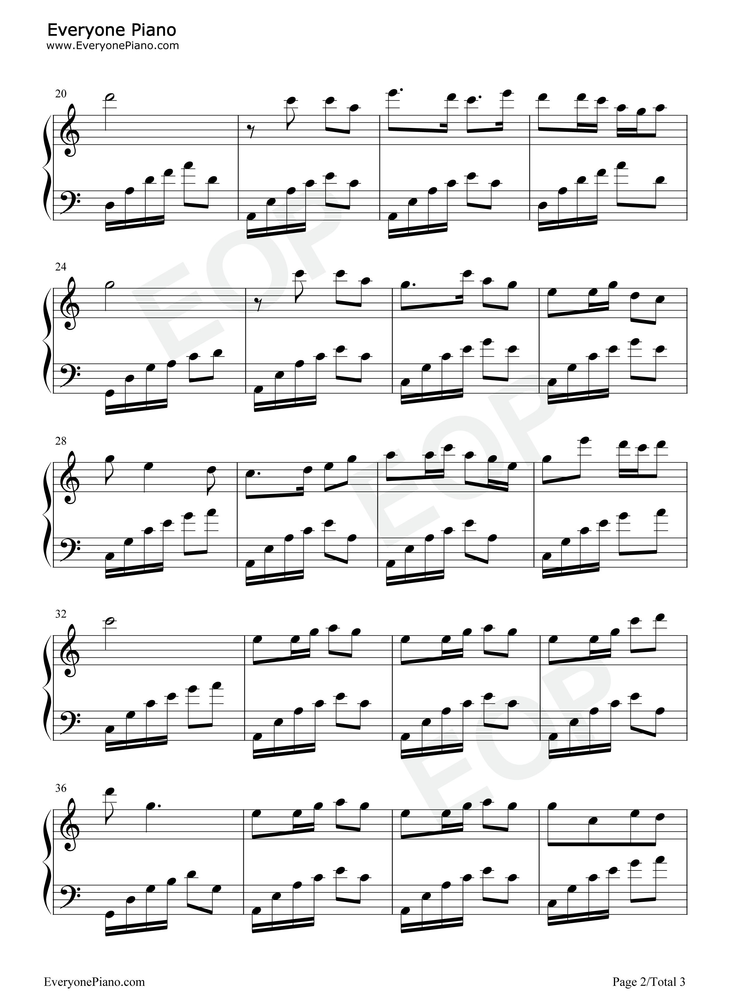 泉水叮咚响五线谱预览2