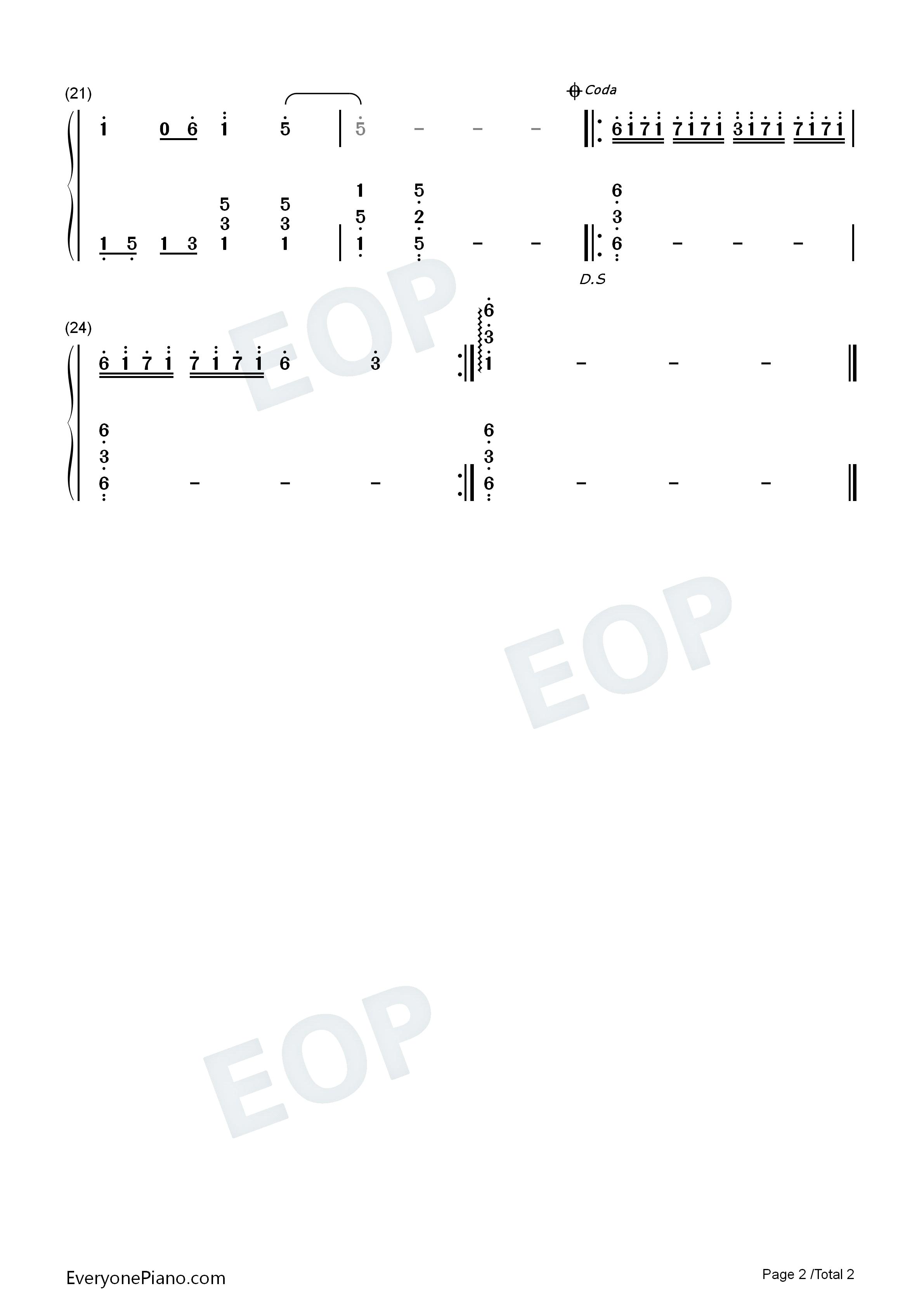 海韵-邓丽君版双手简谱预览2
