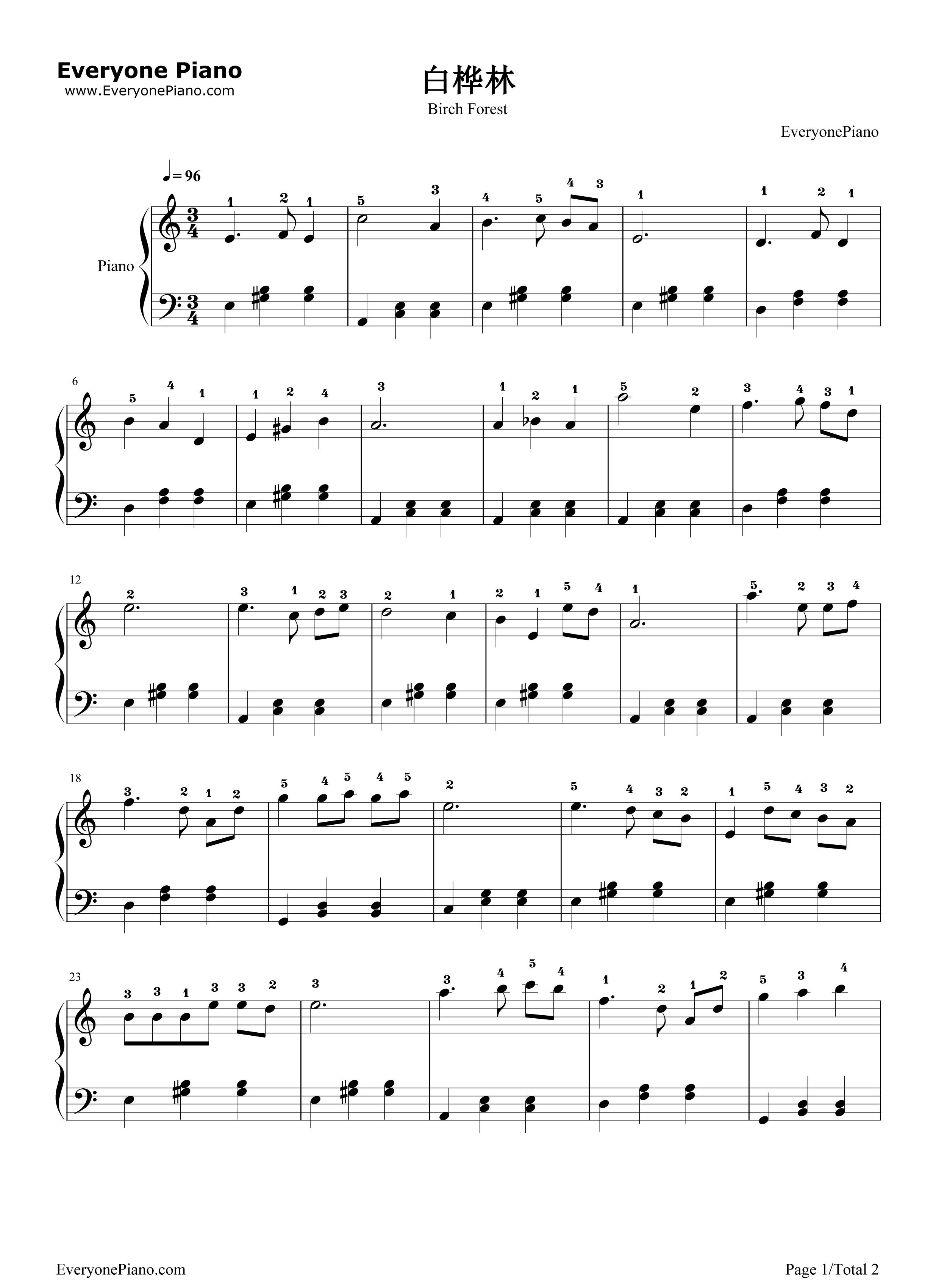 白桦林五线谱预览1-钢琴谱(五线谱,双手简谱)免费下载